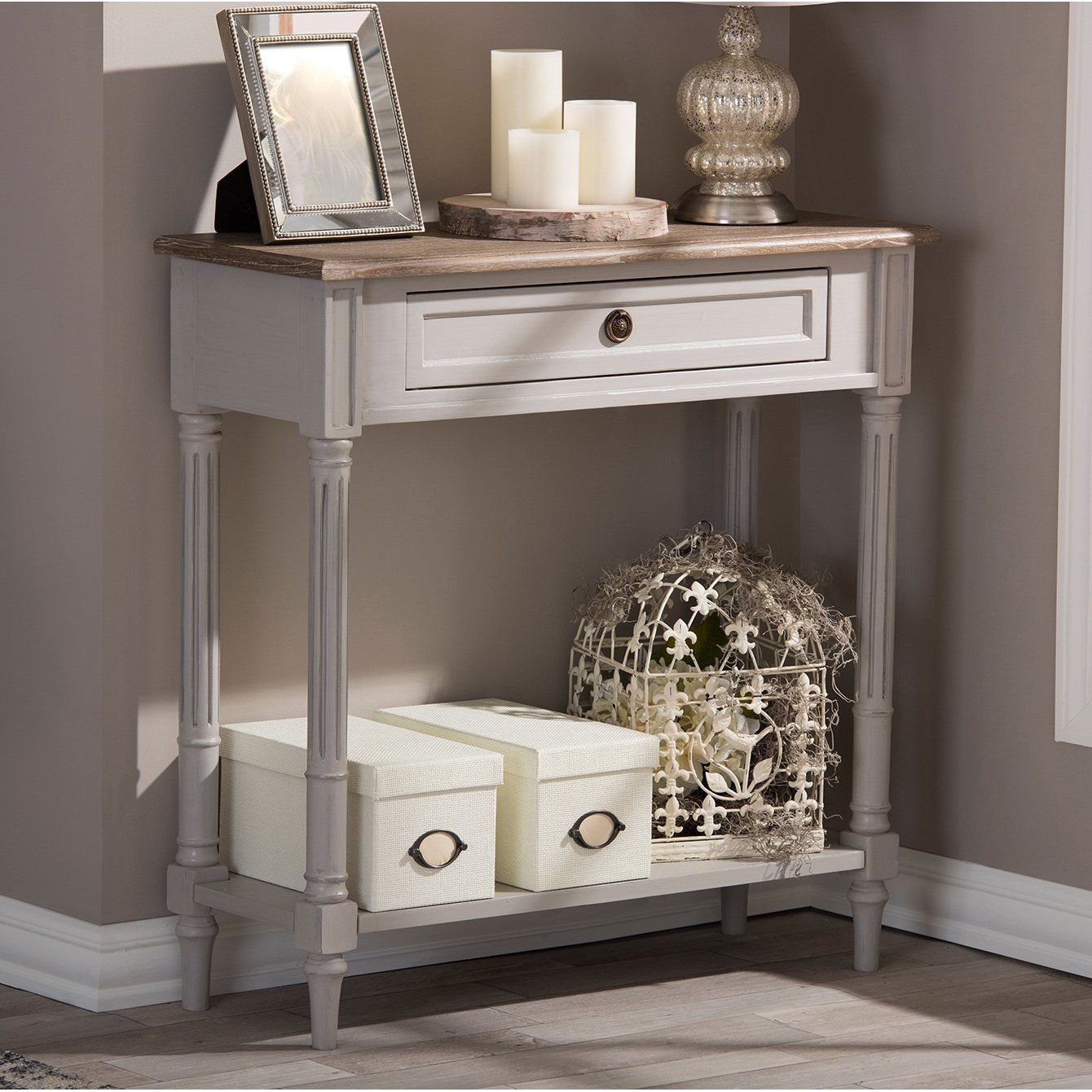 Shop Baxton Studio Edouard French Provincial Distressed Console intended for Antique White Distressed Console Tables (Image 25 of 30)