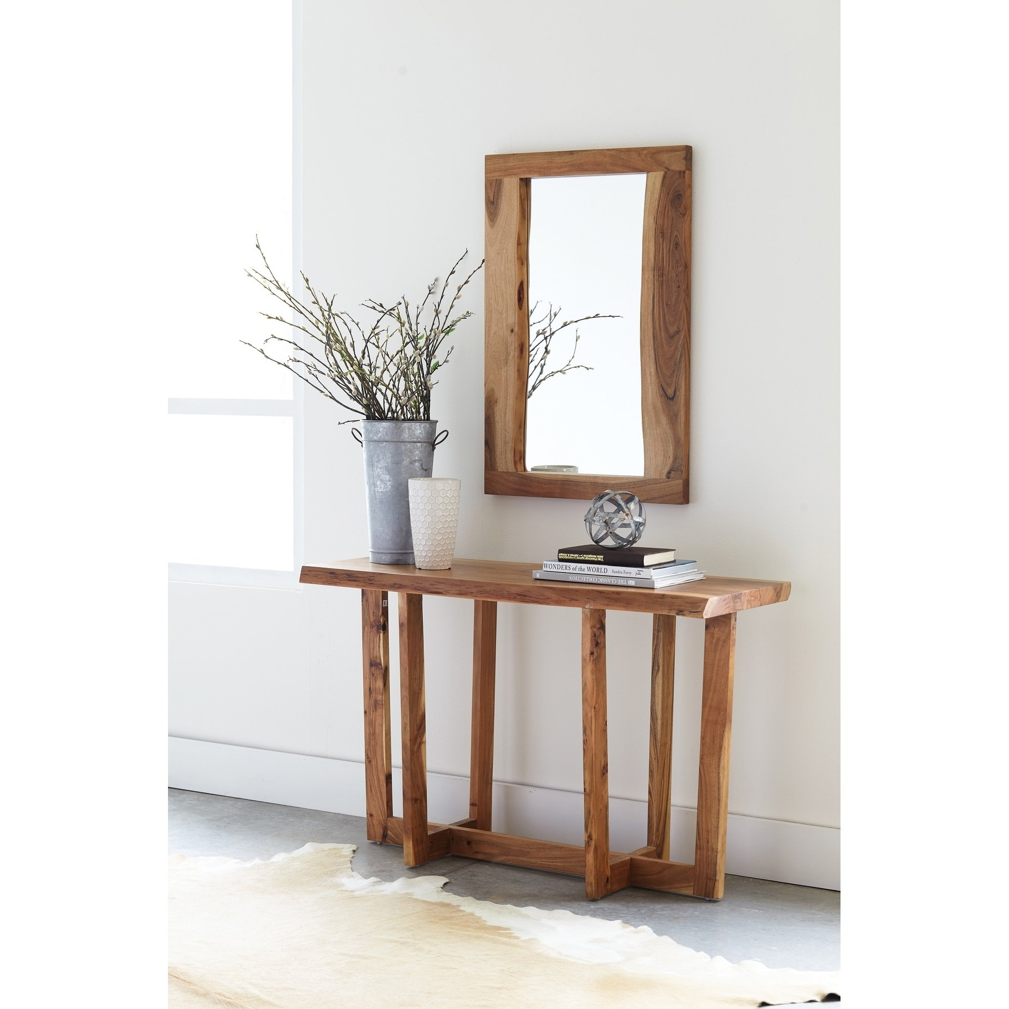Shop Berkshire Natural Live Edge Wood Media Console Table, Natural within Natural Wood Mirrored Media Console Tables (Image 24 of 30)