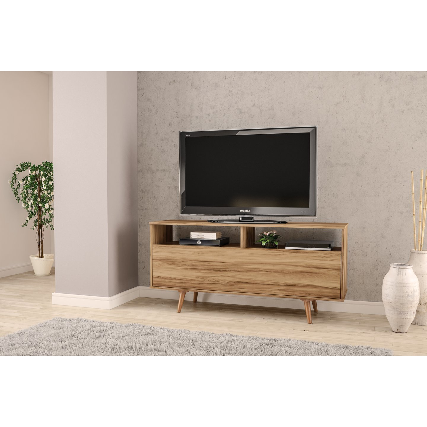 "Shop Boahaus 60"" Tv Stand, 1 Door, Two Compartments, 2 Open Shelves with Canyon 64 Inch Tv Stands (Image 23 of 30)"