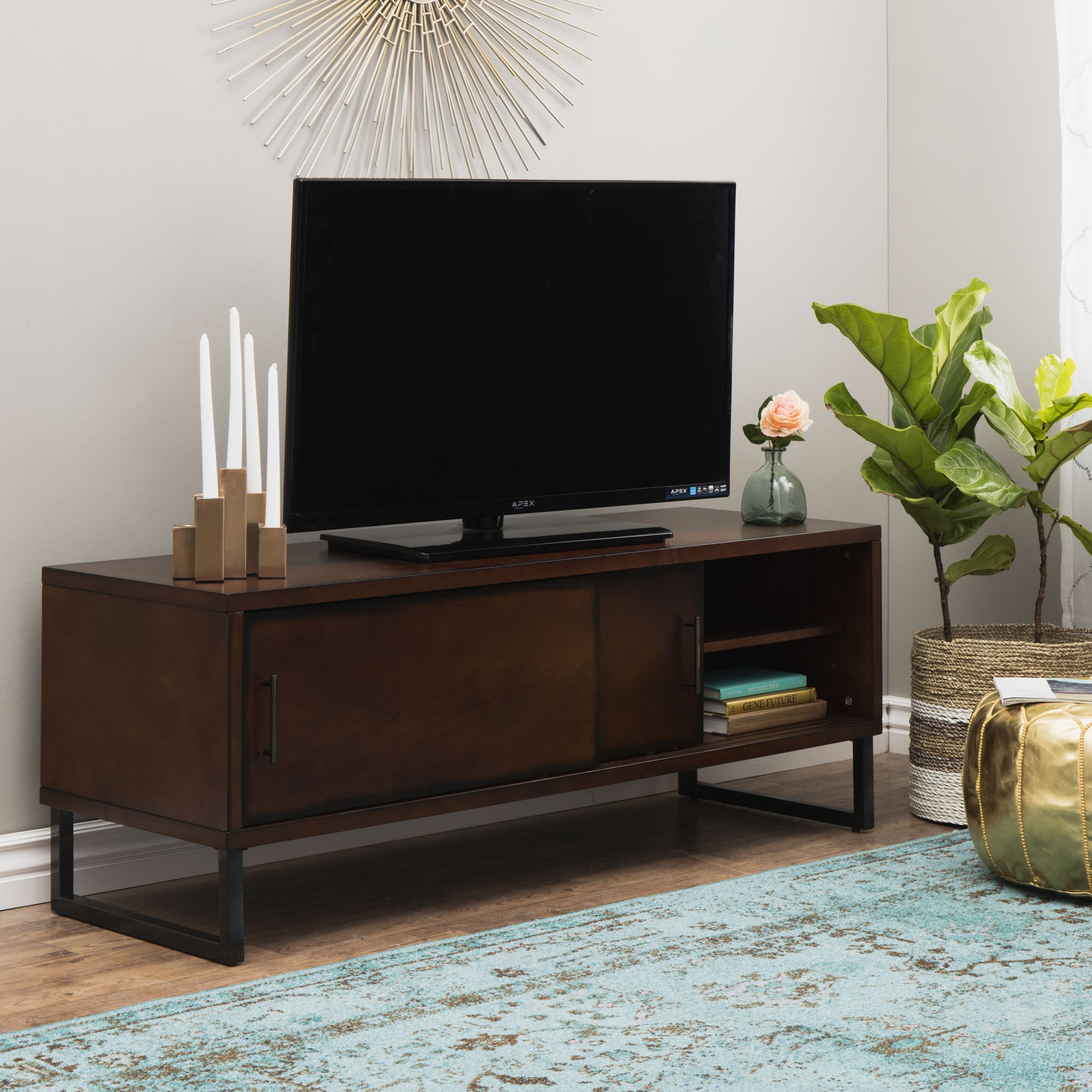Shop Carbon Loft 54-Inch Breckenridge Walnut Entertainment Center within Canyon 54 Inch Tv Stands (Image 20 of 30)