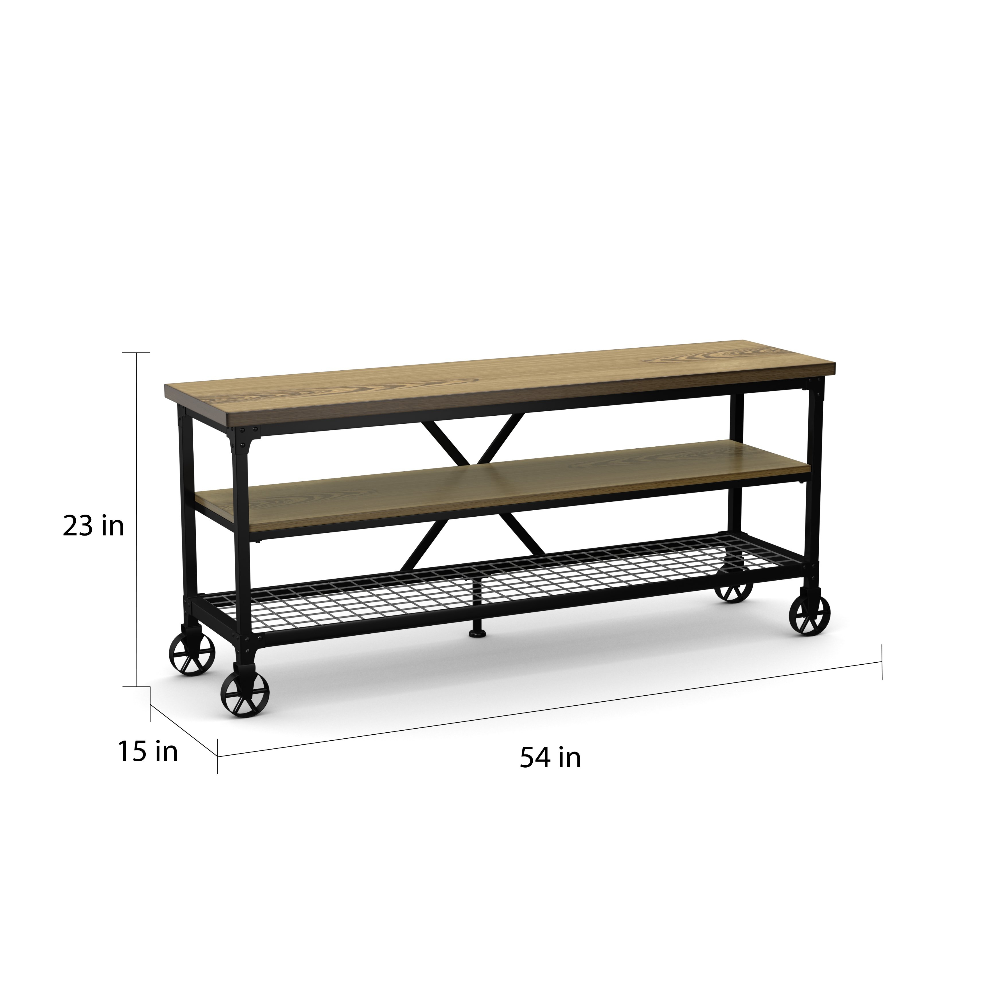 Shop Carbon Loft Akroyd Industrial Medium Oak Tv Stand – On Sale For Canyon 54 Inch Tv Stands (View 20 of 30)