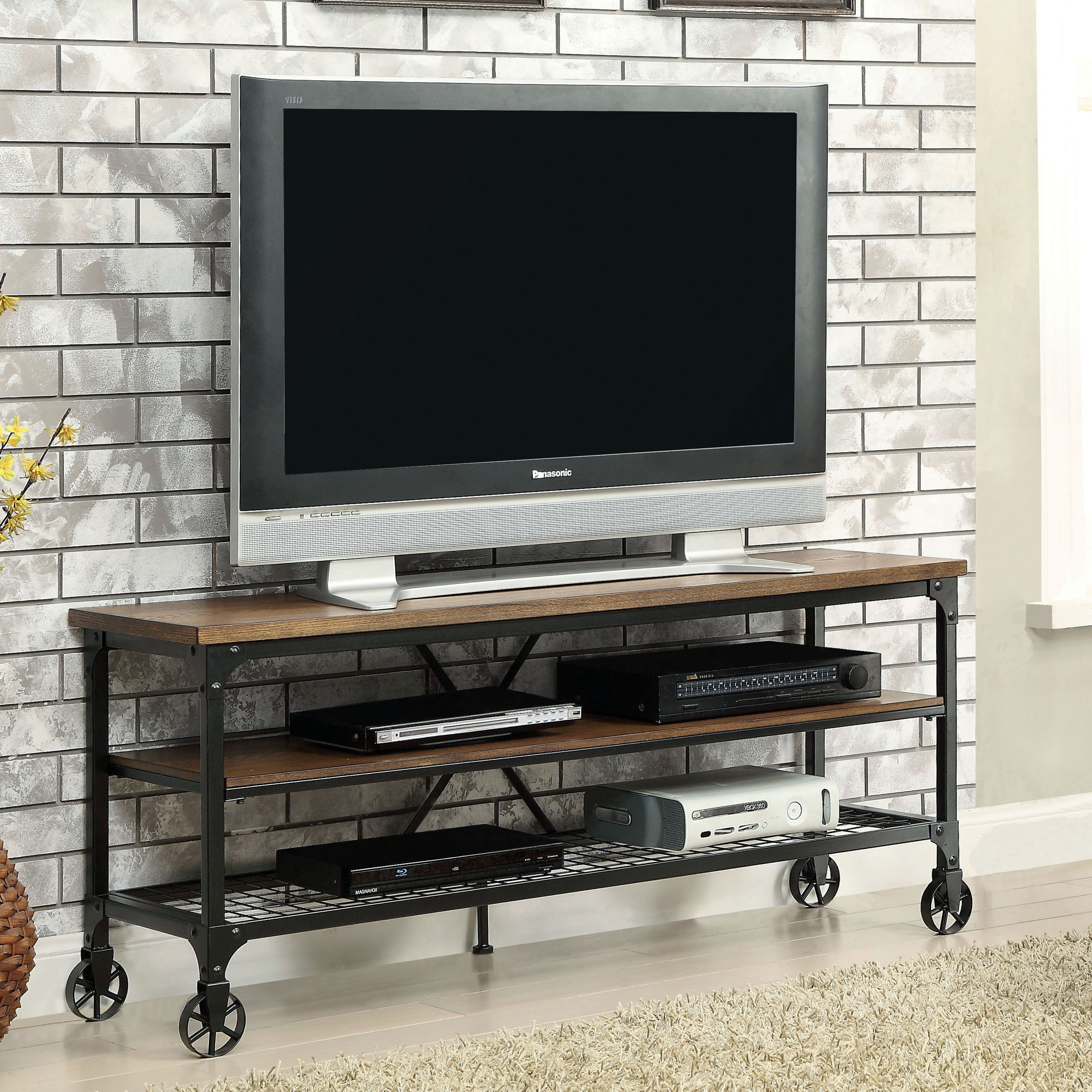 Shop Carbon Loft Akroyd Industrial Medium Oak Tv Stand - On Sale with regard to Canyon 54 Inch Tv Stands (Image 22 of 30)
