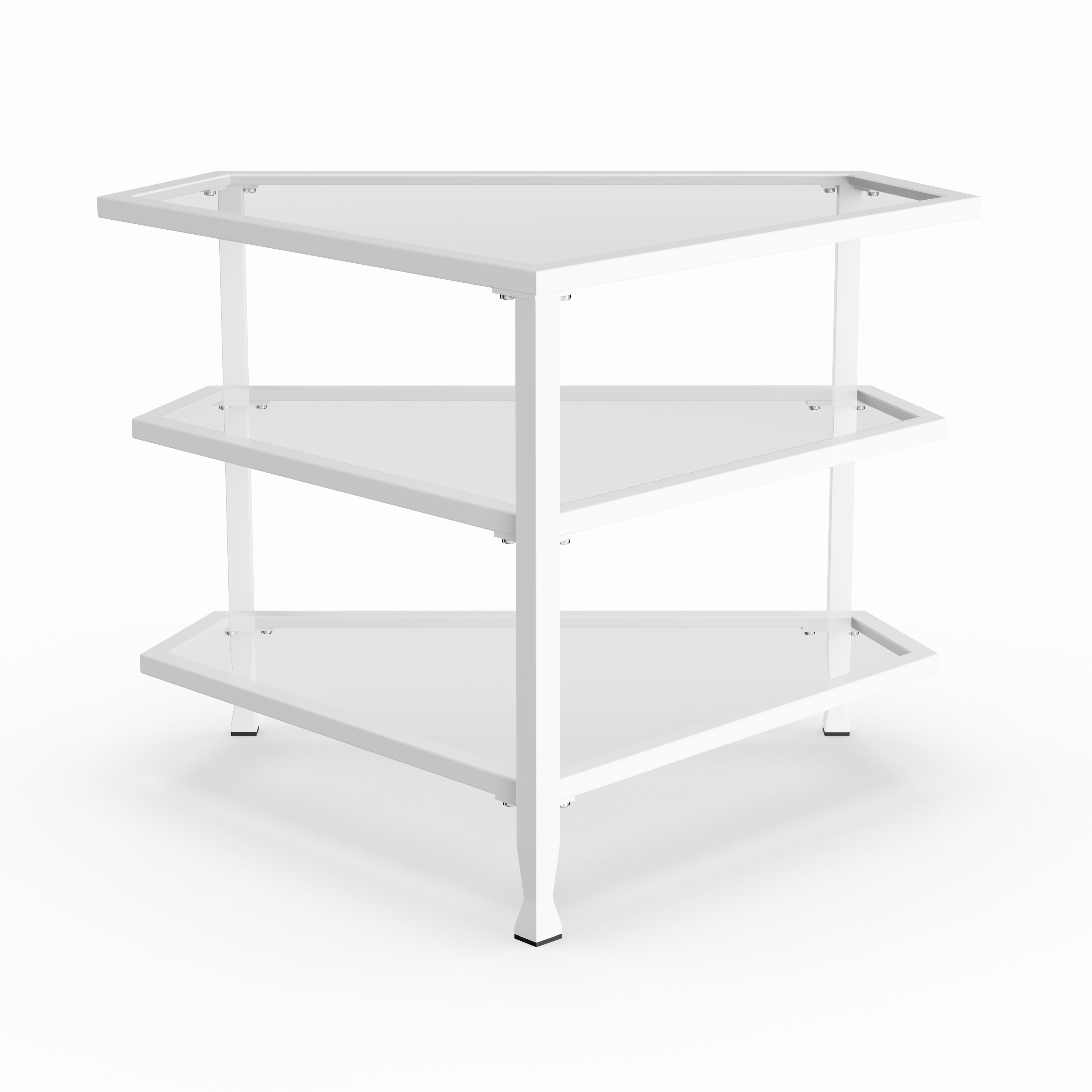 Shop Carbon Loft Glenn White Metal/ Glass Corner Tv Stand – Free For Kilian Grey 60 Inch Tv Stands (View 7 of 30)