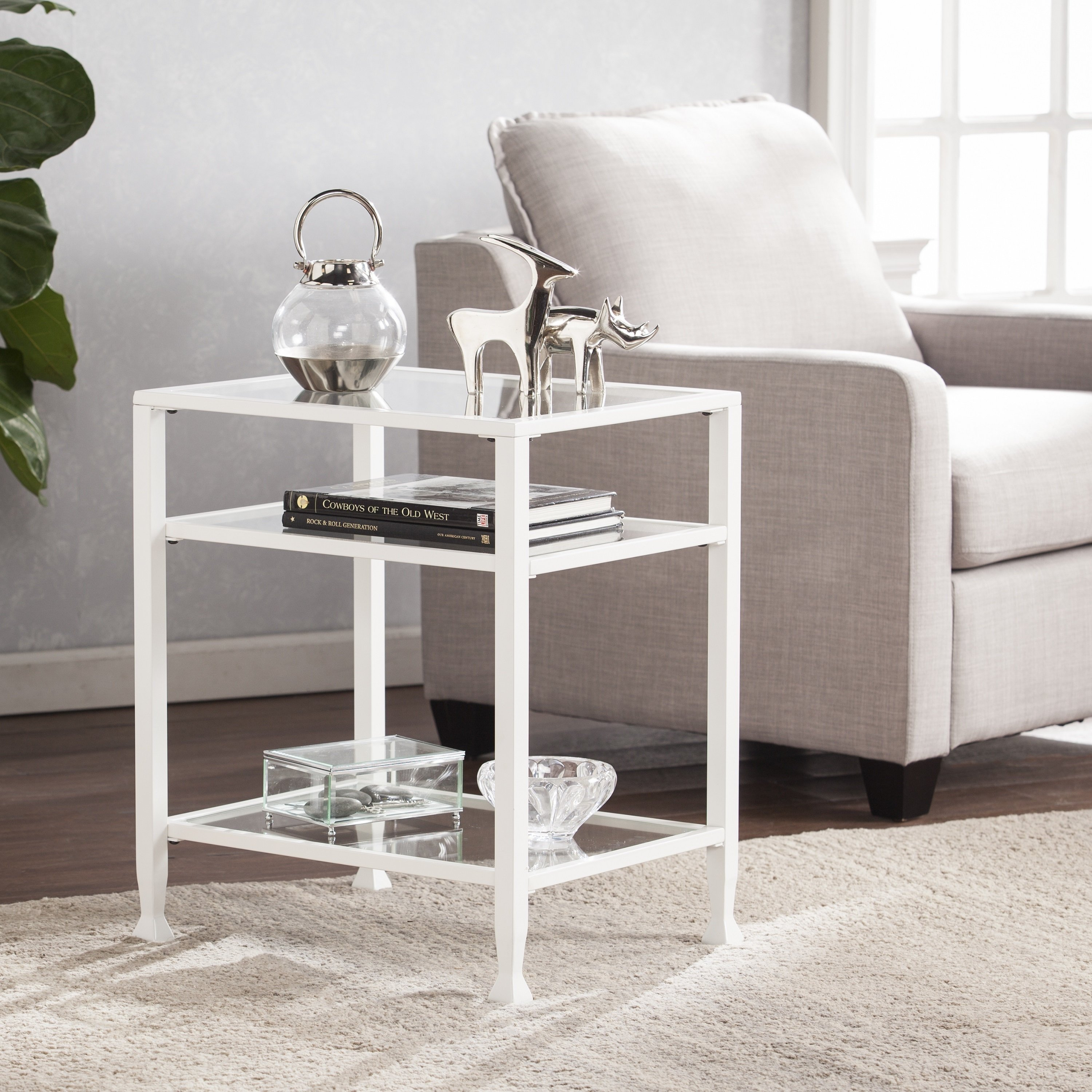 Shop Carbon Loft Glenn White Metal/ Glass End Table – On Sale – Free In Dixon Black 65 Inch Highboy Tv Stands (View 18 of 30)