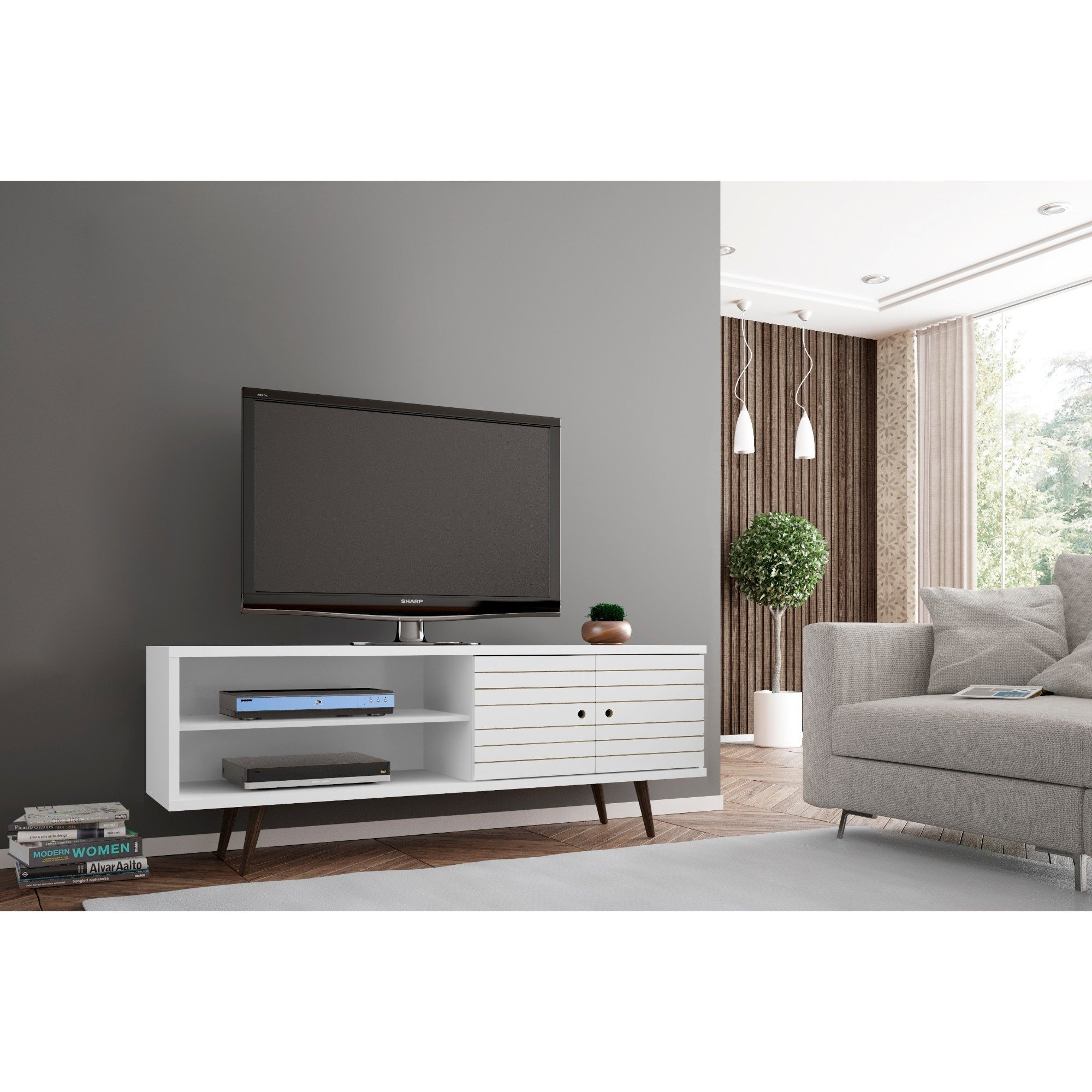 Shop Carson Carrington Sortland Wooden Modern Tv Stand – On Sale In Century Blue 60 Inch Tv Stands (View 13 of 30)