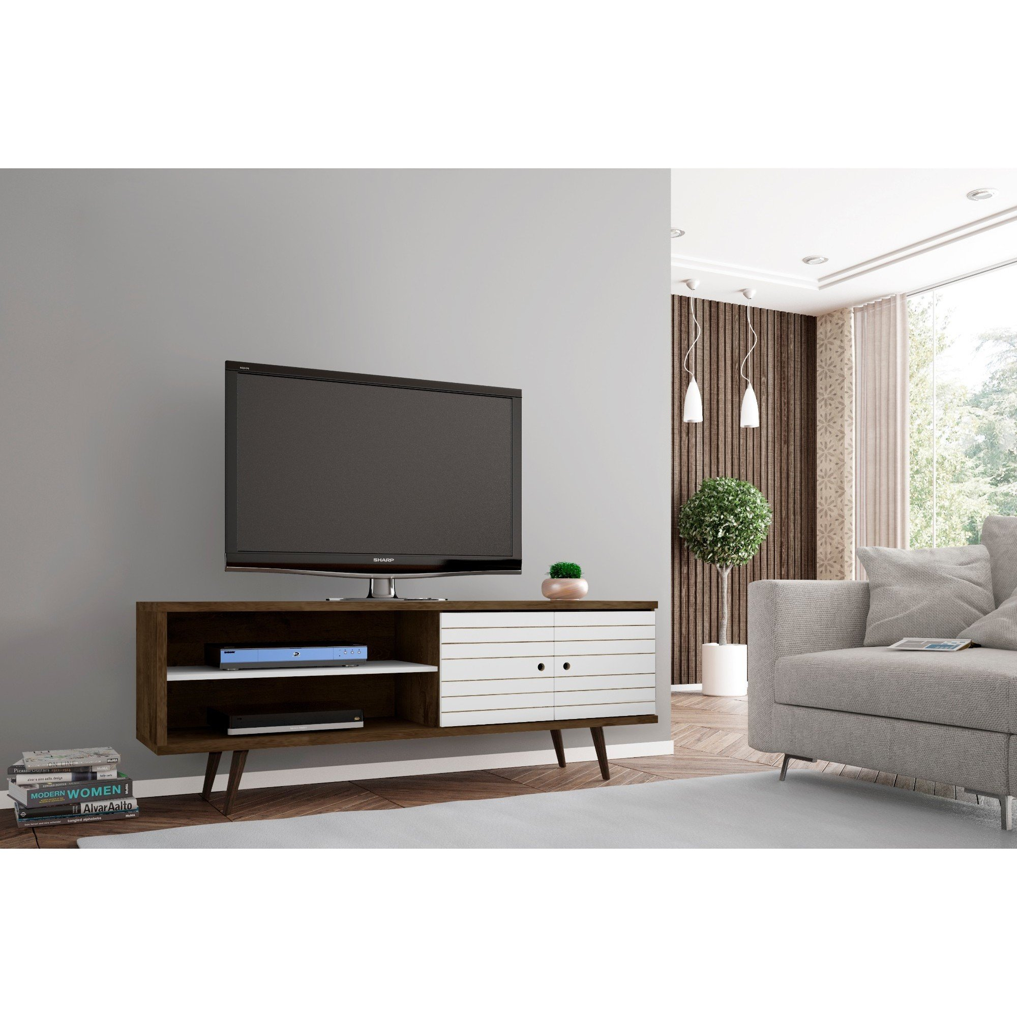 Shop Carson Carrington Sortland Wooden Modern Tv Stand - On Sale throughout Canyon 64 Inch Tv Stands (Image 25 of 30)