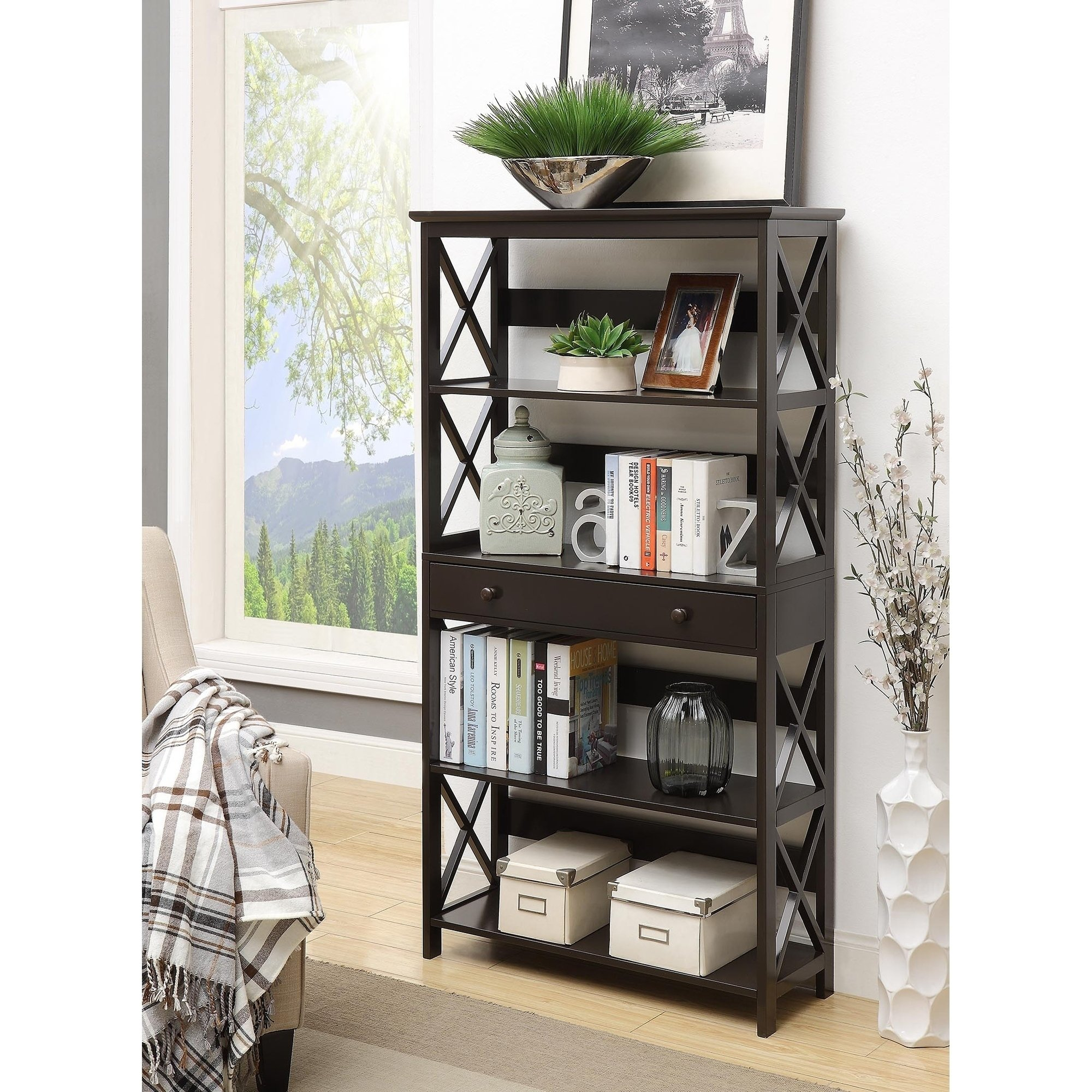 Shop Copper Grove Cranesbill 5 Tier Bookcase With Drawer – Free In Casey Grey 74 Inch Tv Stands (View 11 of 30)