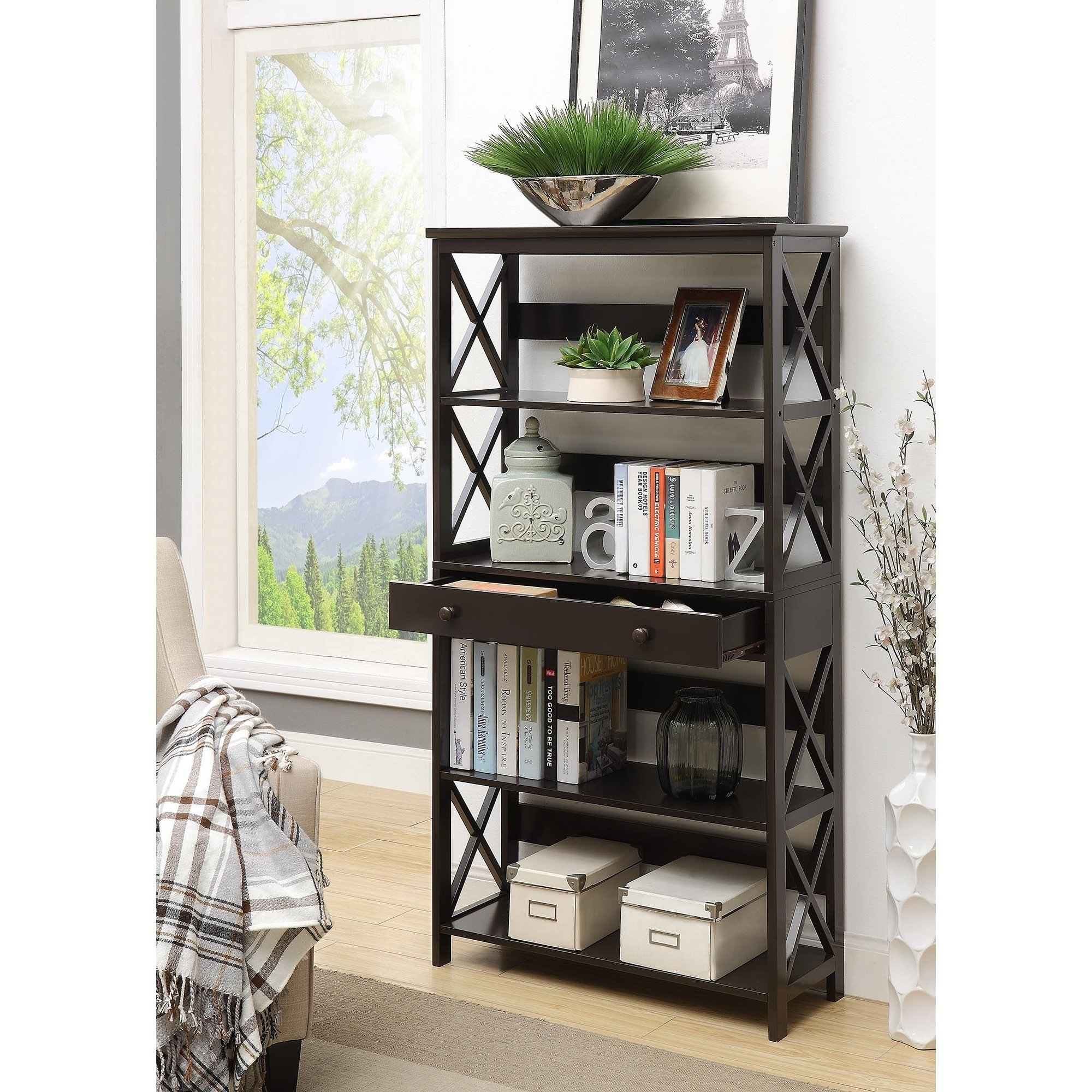 Shop Copper Grove Cranesbill 5-Tier Bookcase With Drawer - On Sale with regard to Casey Grey 66 Inch Tv Stands (Image 17 of 30)