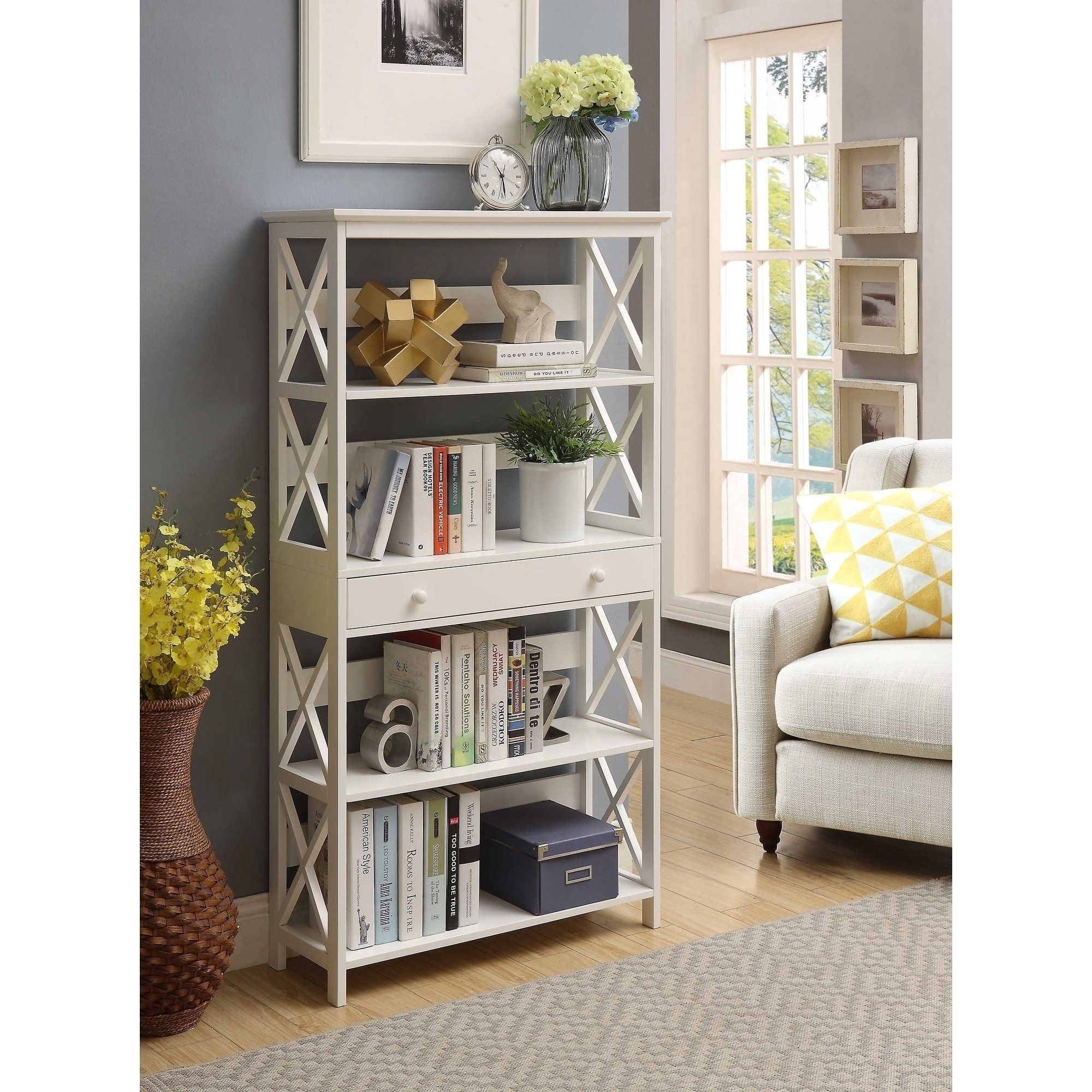 Shop Copper Grove Cranesbill 5-Tier Bookcase With Drawer - On Sale within Casey Grey 66 Inch Tv Stands (Image 18 of 30)
