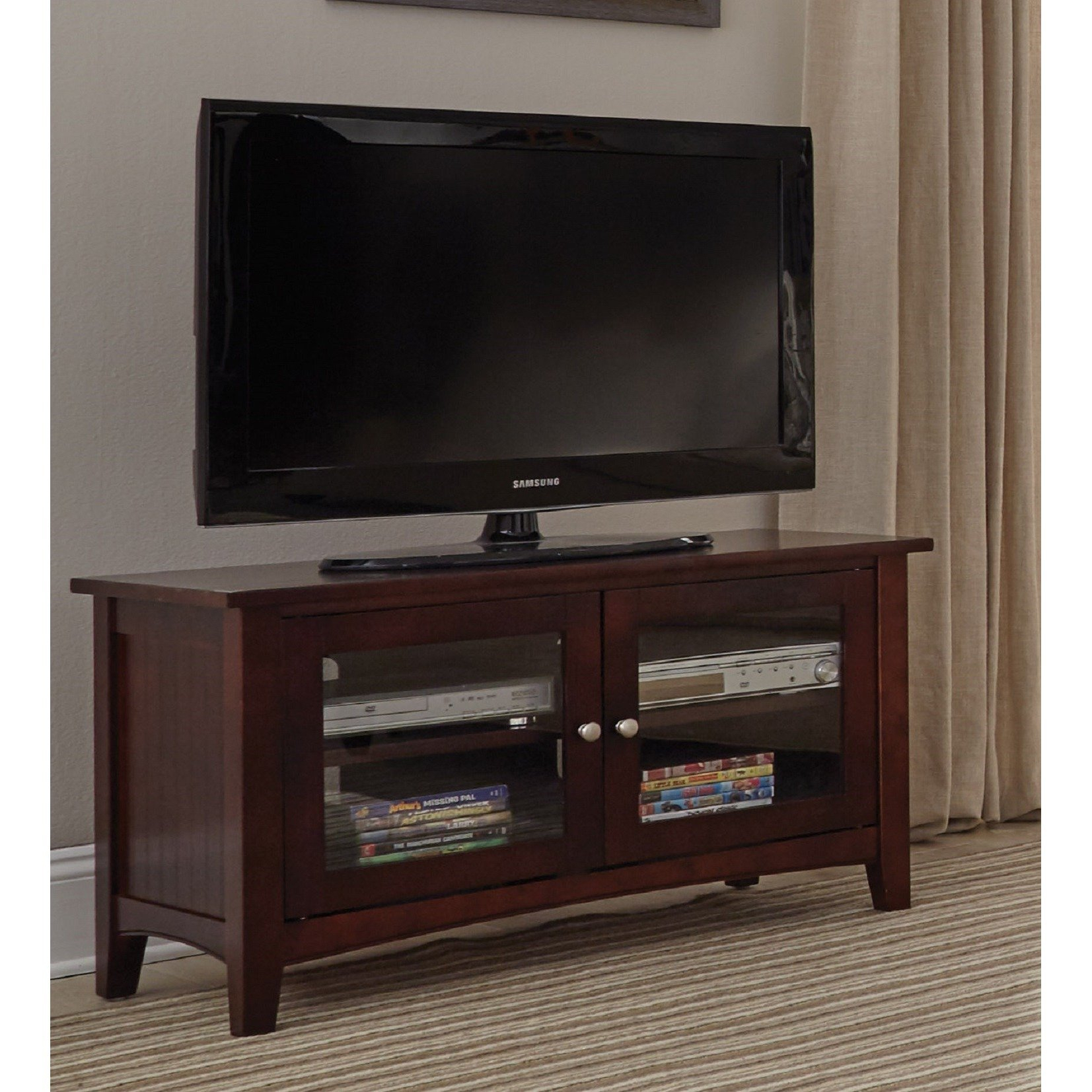 Shop Copper Grove Taber 36 Inch Wood Tv Stand With Glass Doors For Vista 60 Inch Tv Stands (View 10 of 30)