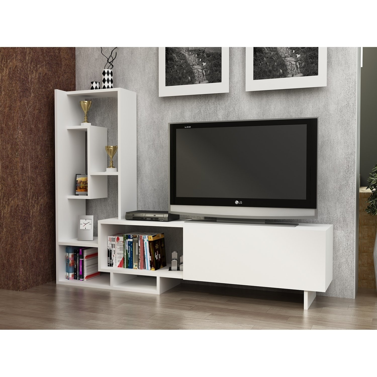 Shop Decorotika Pegai White Wood 60-Inch Tv Stand With Bookshelves within Century Blue 60 Inch Tv Stands (Image 22 of 30)