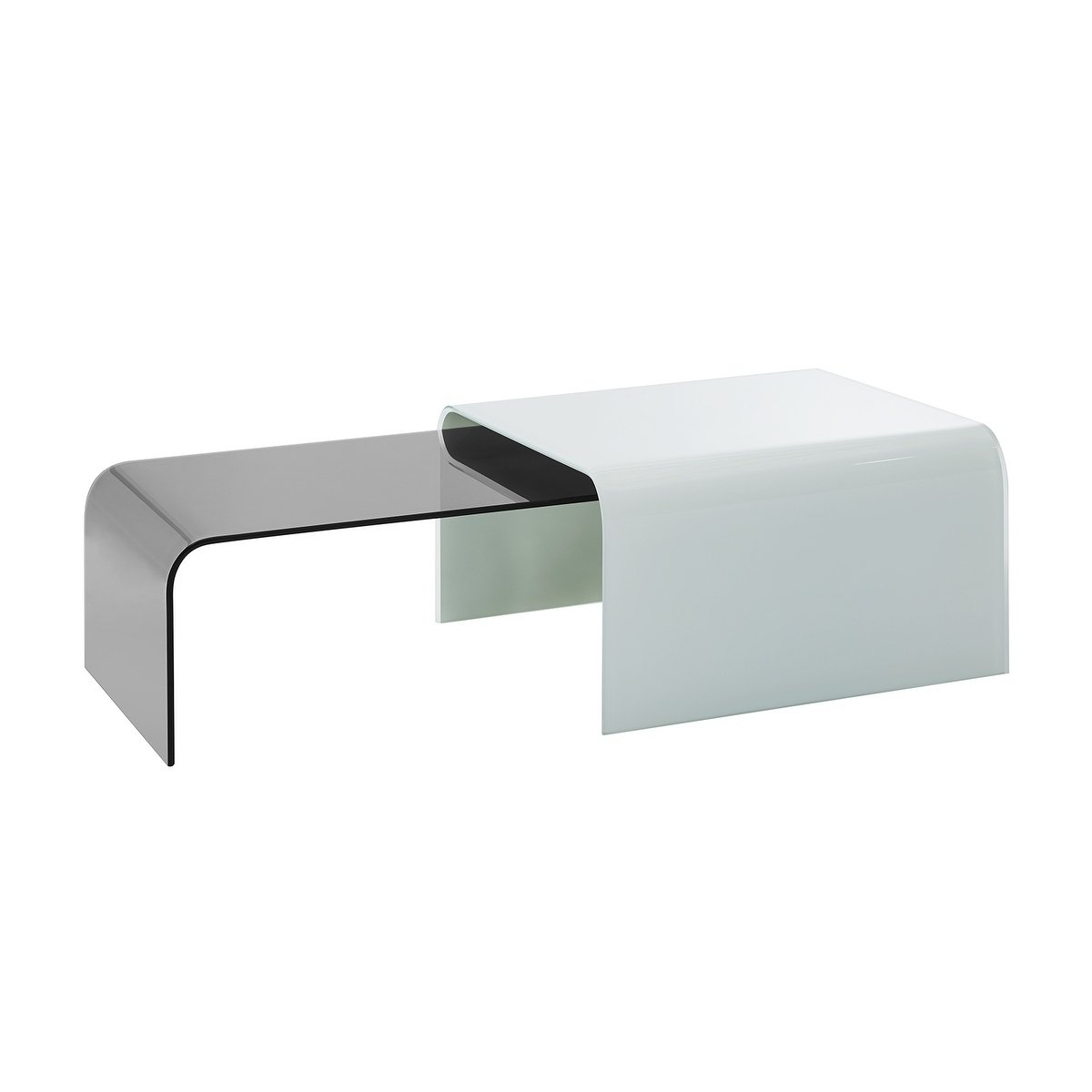 Shop Era White Glass W Smoked Glass Coffee Tablecasabianca Home Within Era Glass Console Tables (View 23 of 30)