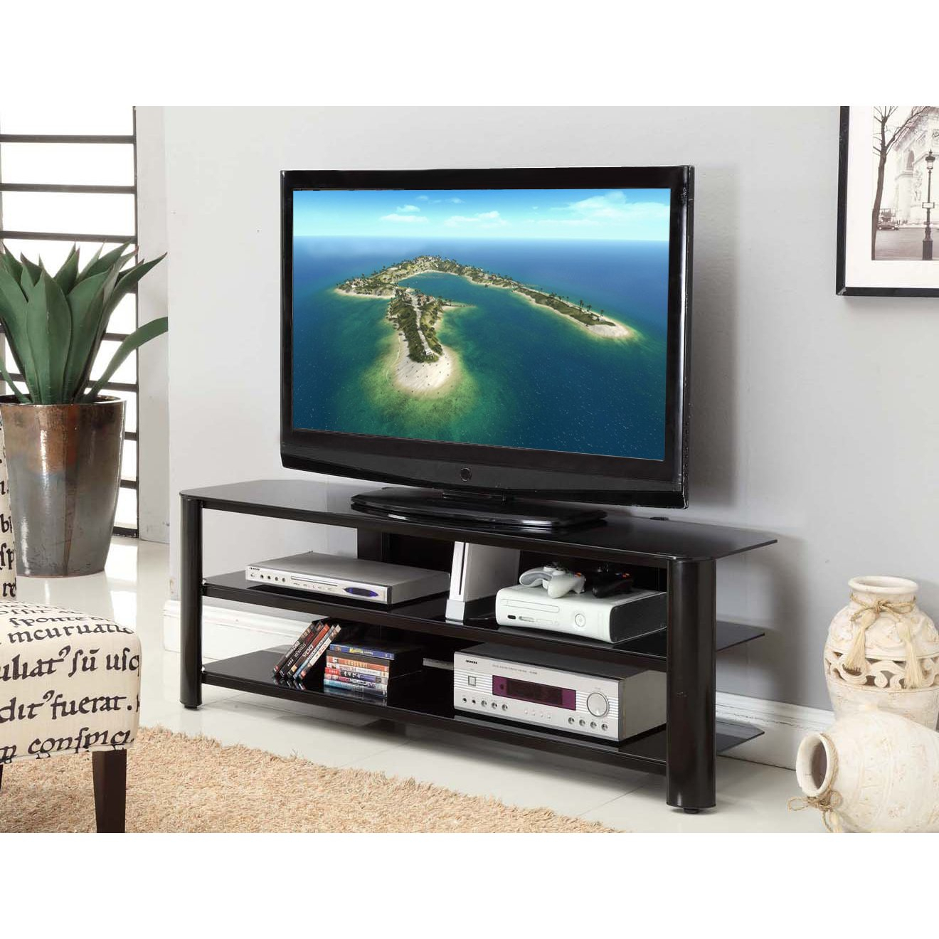 Shop Fold 'n' Snap Oxford Ez Black Innovex Tv Stand - Free Shipping regarding Oxford 84 Inch Tv Stands (Image 25 of 30)