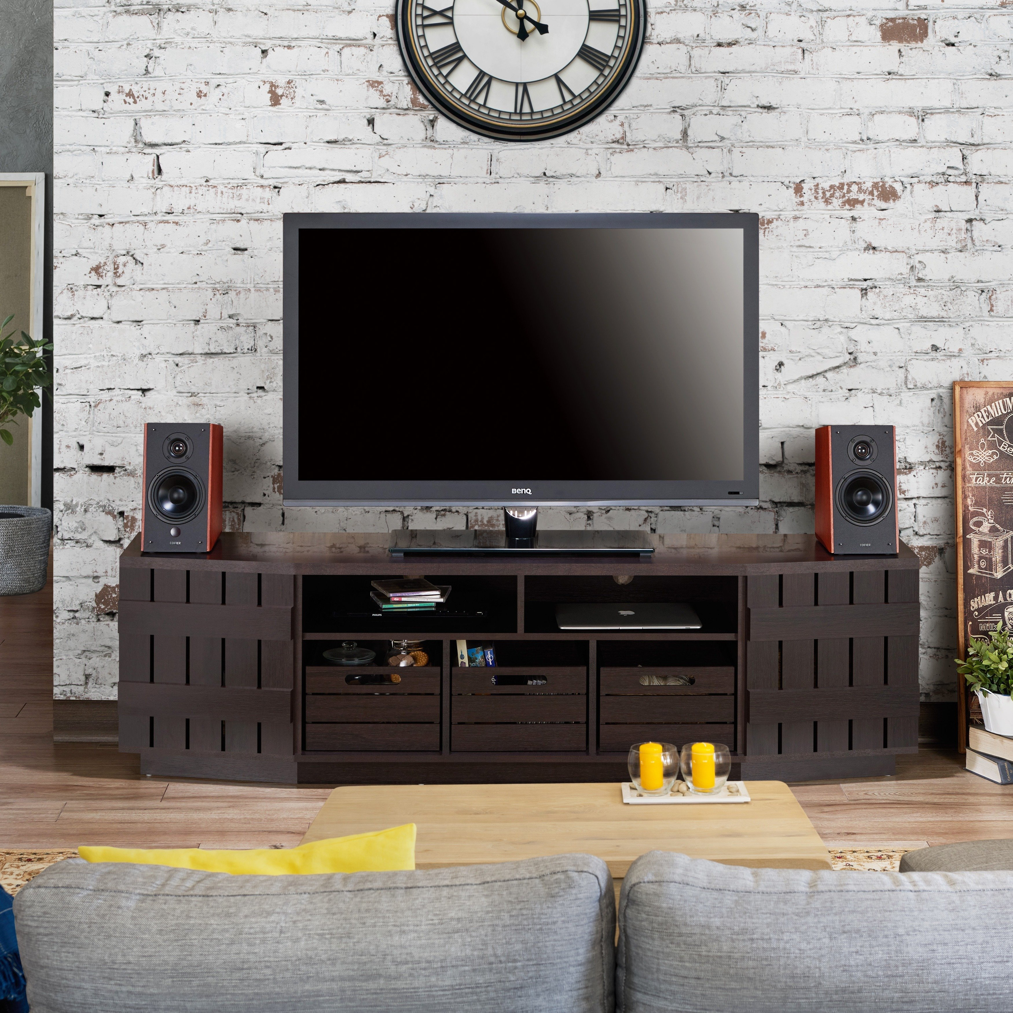 Shop Furniture Of America Harla Rustic 70-Inch Tv Stand With regarding Casey Grey 54 Inch Tv Stands (Image 15 of 30)