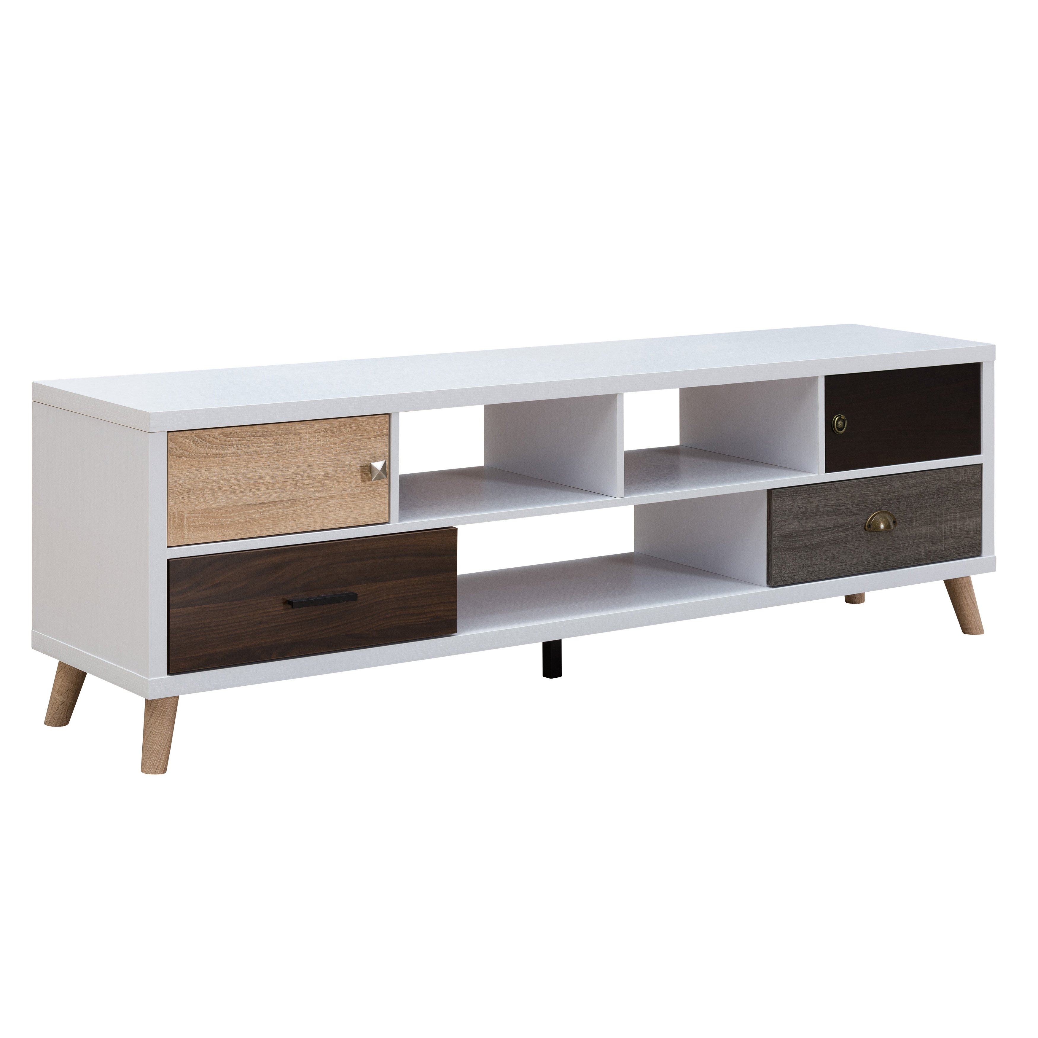 Shop Furniture Of America Kristen Mid-Century Modern Multicolored for Casey Grey 54 Inch Tv Stands (Image 17 of 30)