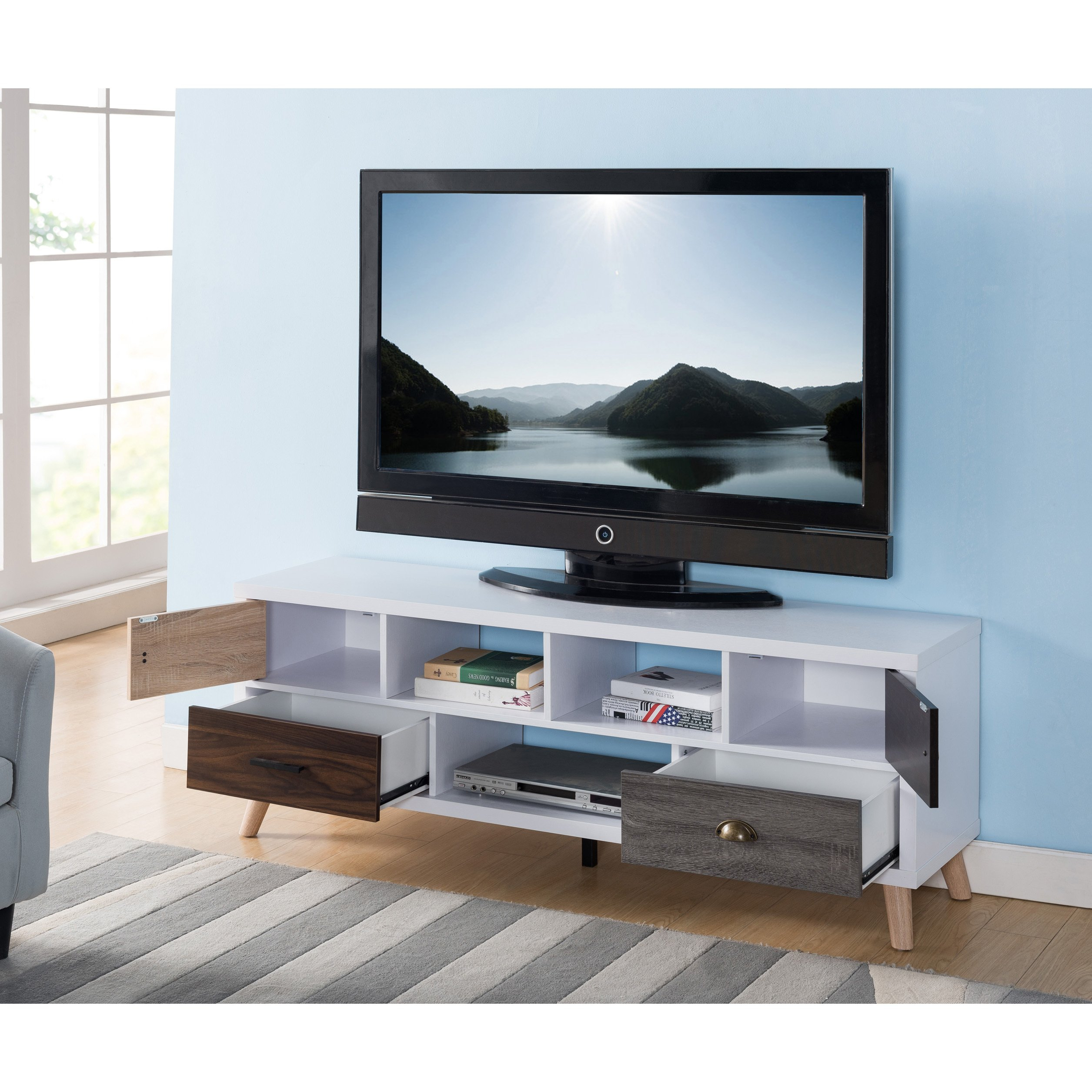 Shop Furniture Of America Kristen Mid Century Modern Multicolored For Casey Grey 74 Inch Tv Stands (View 12 of 30)
