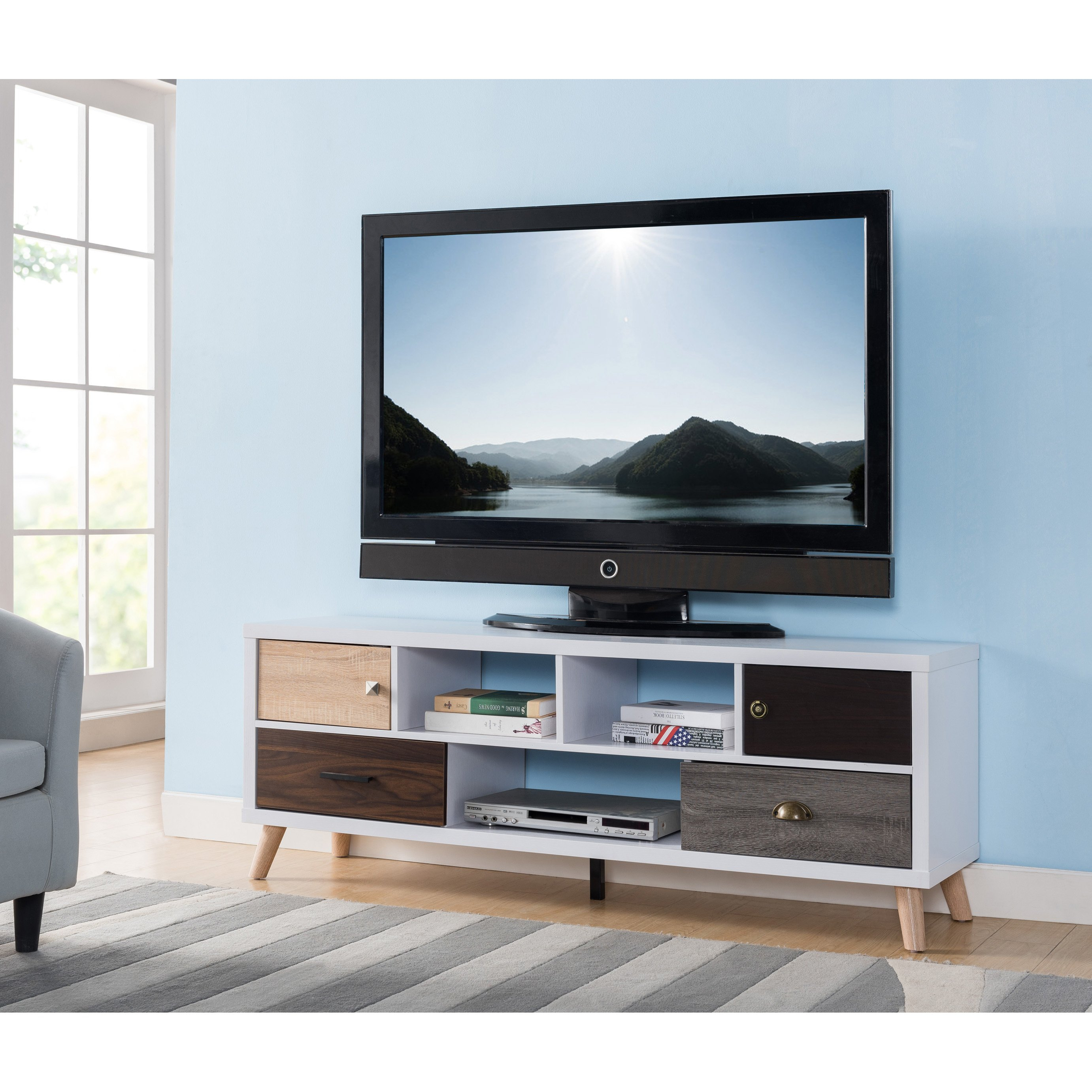 Shop Furniture Of America Kristen Mid Century Modern Multicolored Inside Casey Grey 74 Inch Tv Stands (View 13 of 30)
