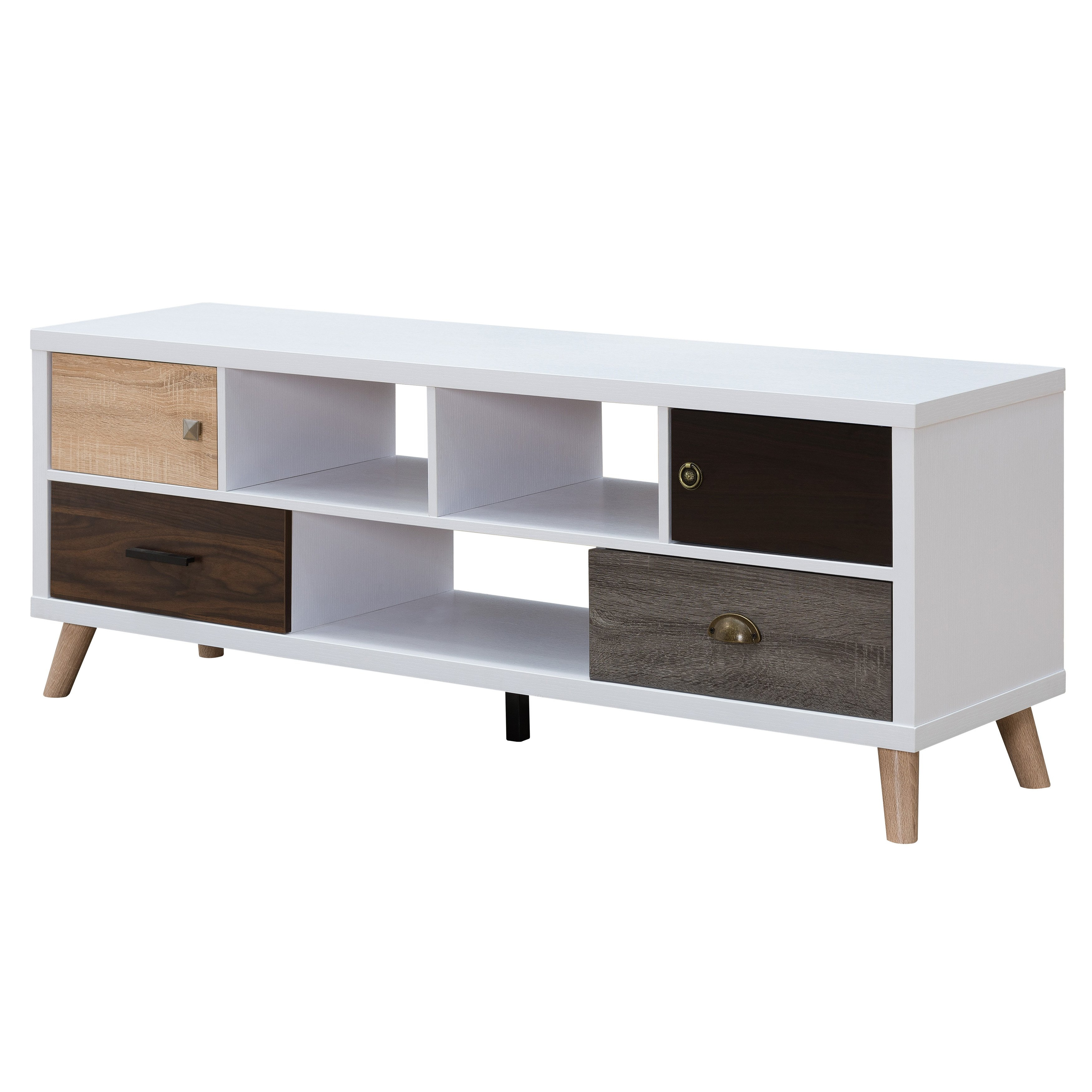 Shop Furniture Of America Kristen Mid-Century Modern Multicolored regarding Casey Grey 66 Inch Tv Stands (Image 20 of 30)