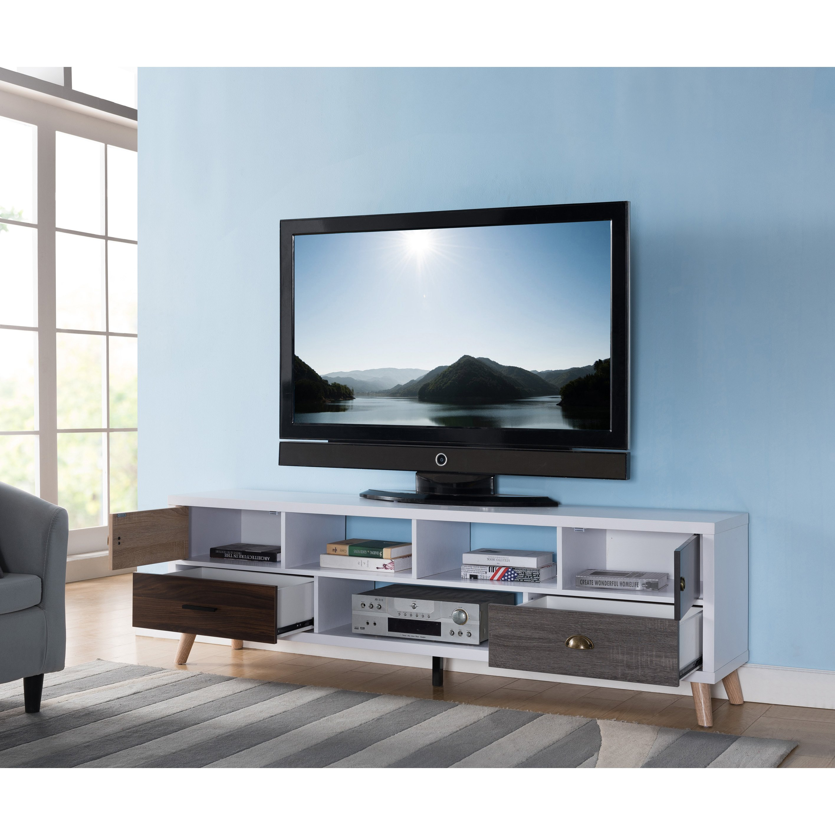 Shop Furniture Of America Kristen Mid Century Modern Multicolored Regarding Casey Grey 74 Inch Tv Stands (View 15 of 30)