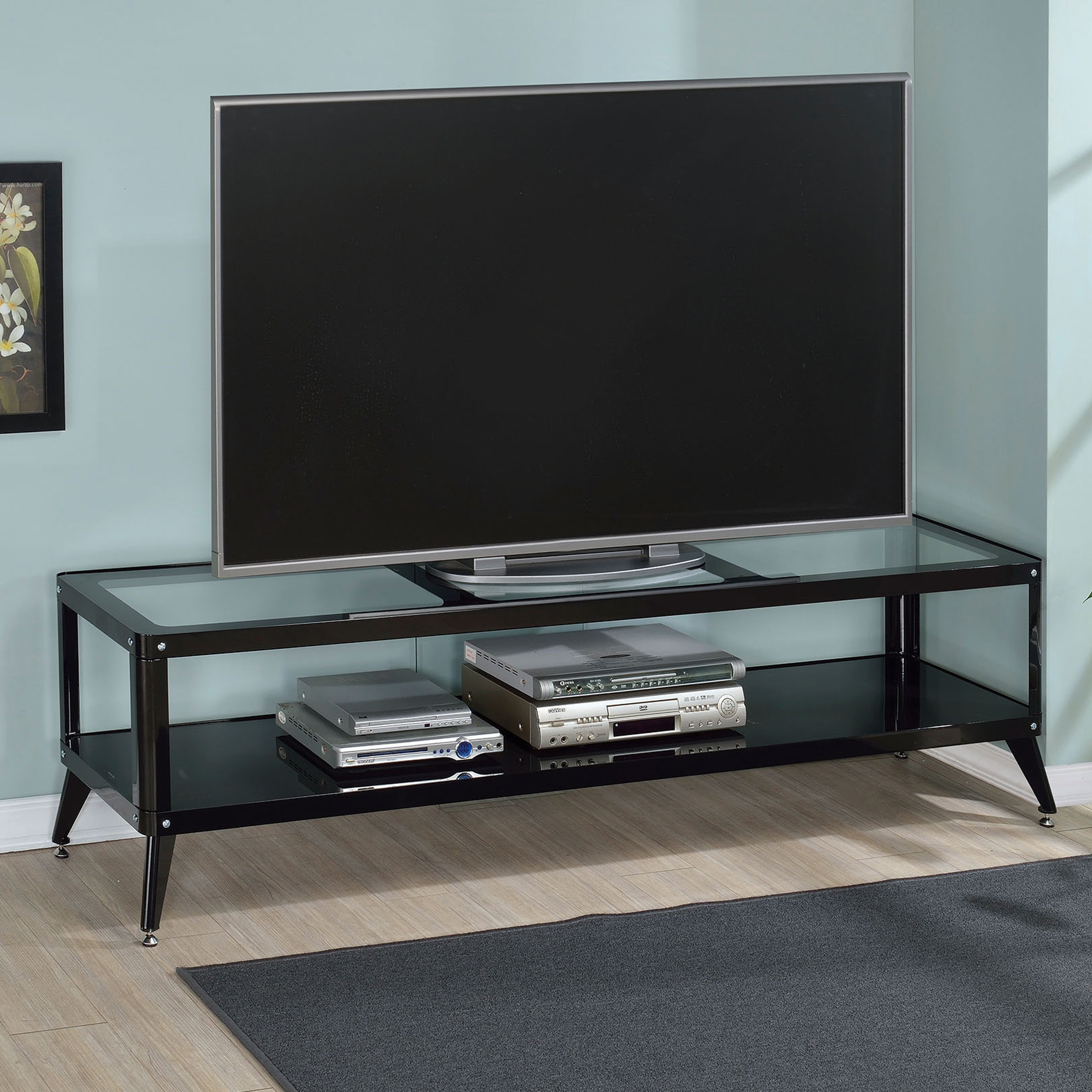 Shop Furniture Of America Linden Modern Glass Top Tv Stand - On Sale within Century Sky 60 Inch Tv Stands (Image 26 of 30)