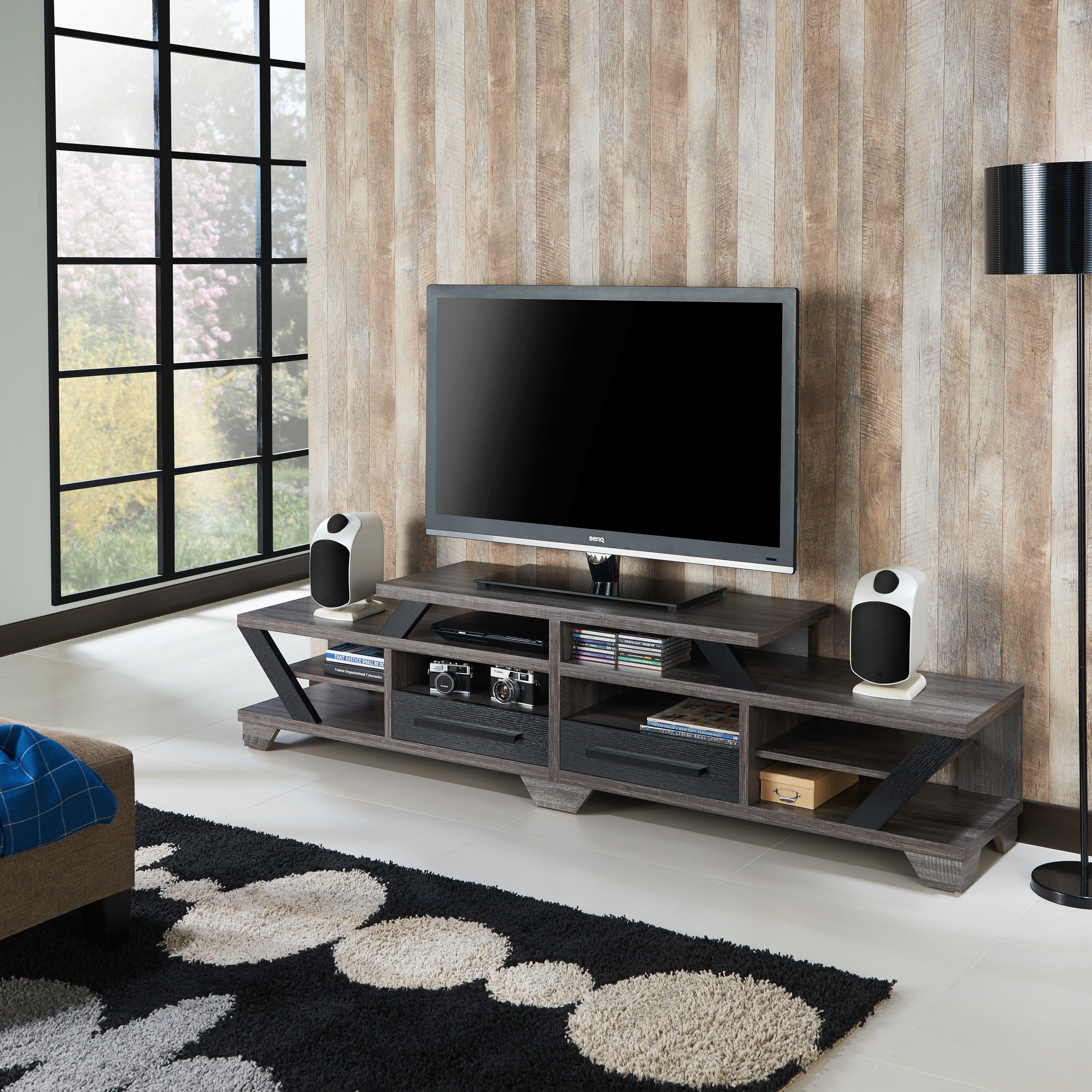 Shop Furniture Of America Mezu Contemporary Two Tone Distressed Grey Pertaining To Noah 75 Inch Tv Stands (View 17 of 30)