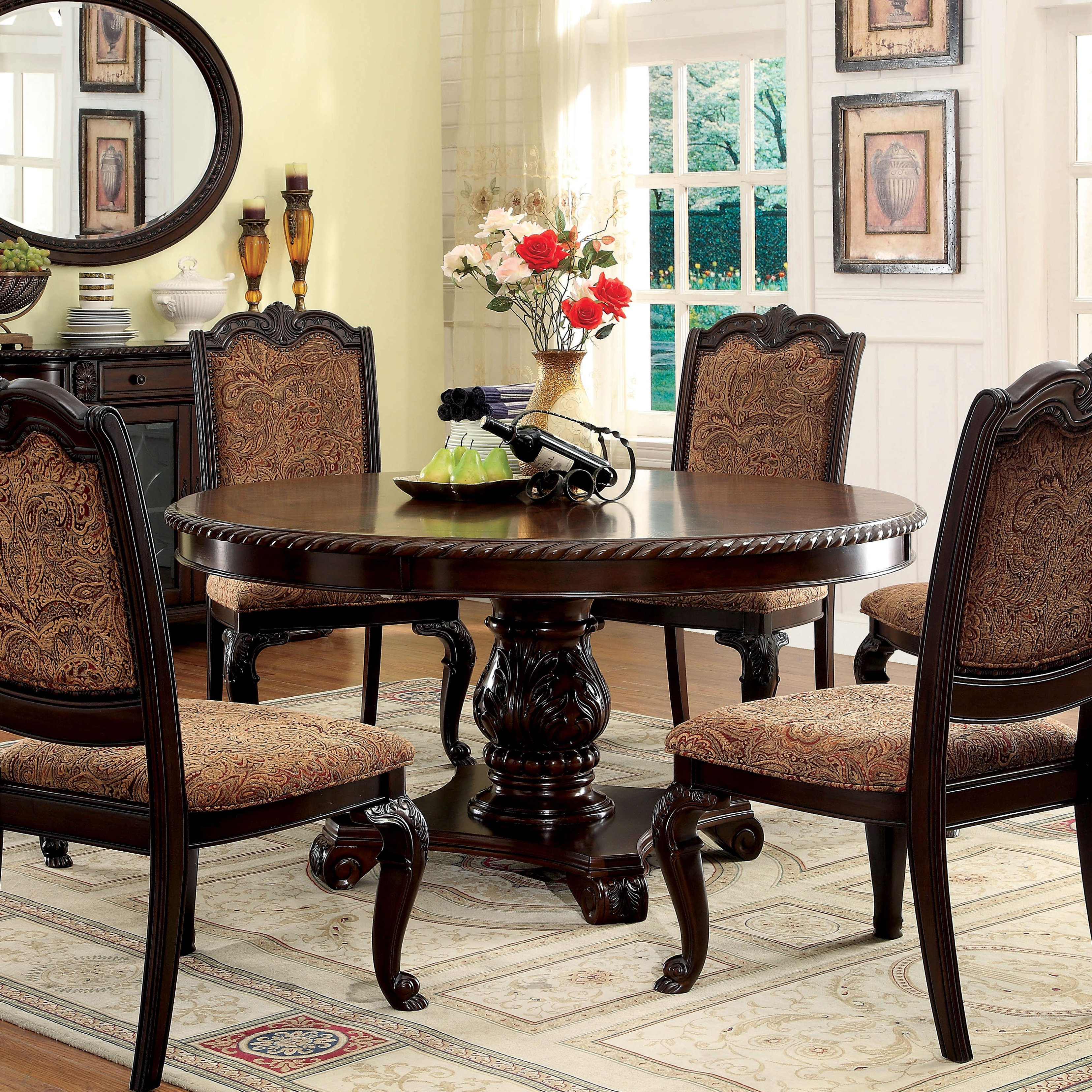 Shop Furniture Of America Oskarre Brown Cherry Round Dining Table throughout Oscar 60 Inch Console Tables (Image 28 of 30)