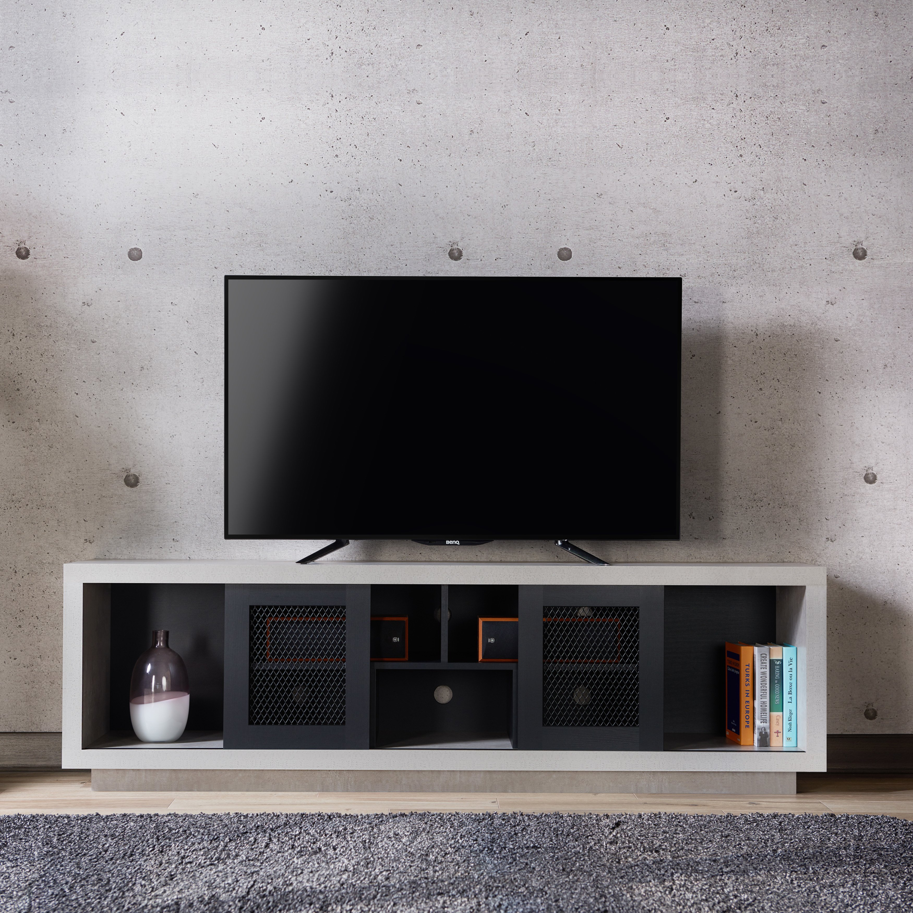 Shop Furniture Of America Selefin Industrial Cement-Like Multi with Casey Grey 54 Inch Tv Stands (Image 24 of 30)