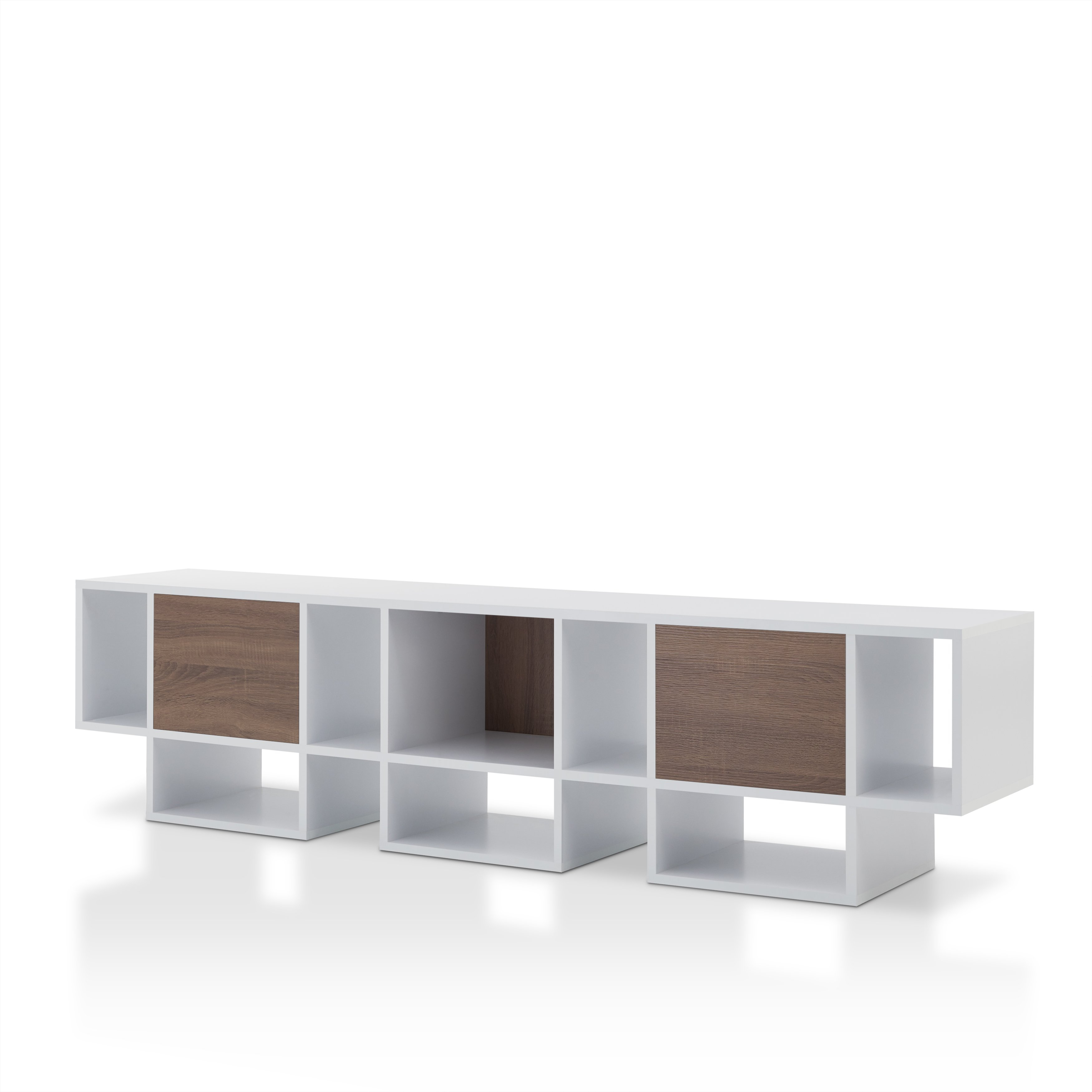 Shop Furniture Of America Veruca Contemporary Two Tone White For Noah Rustic White 66 Inch Tv Stands (View 10 of 30)