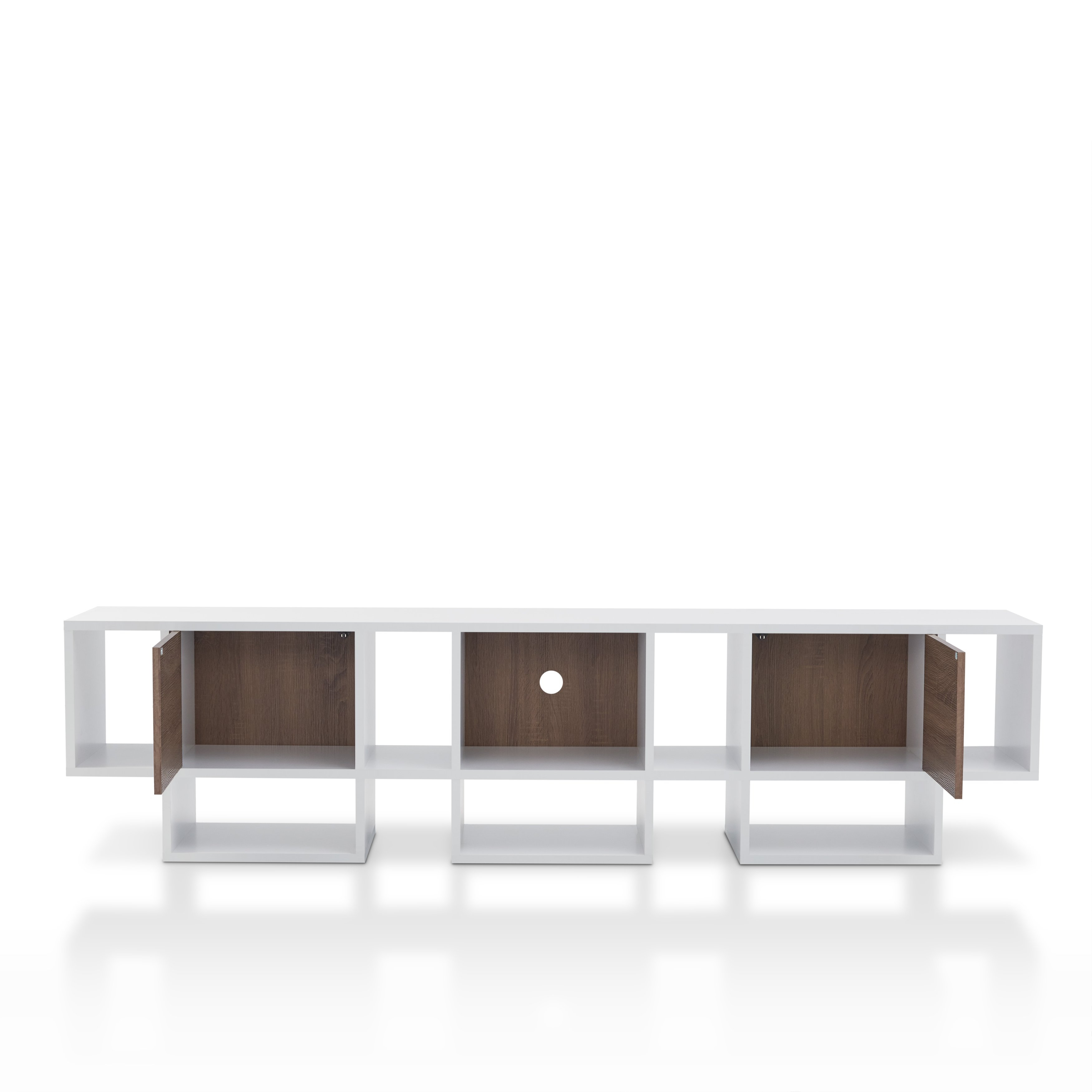 Shop Furniture Of America Veruca Contemporary Two Tone White Intended For Noah Rustic White 66 Inch Tv Stands (View 14 of 30)