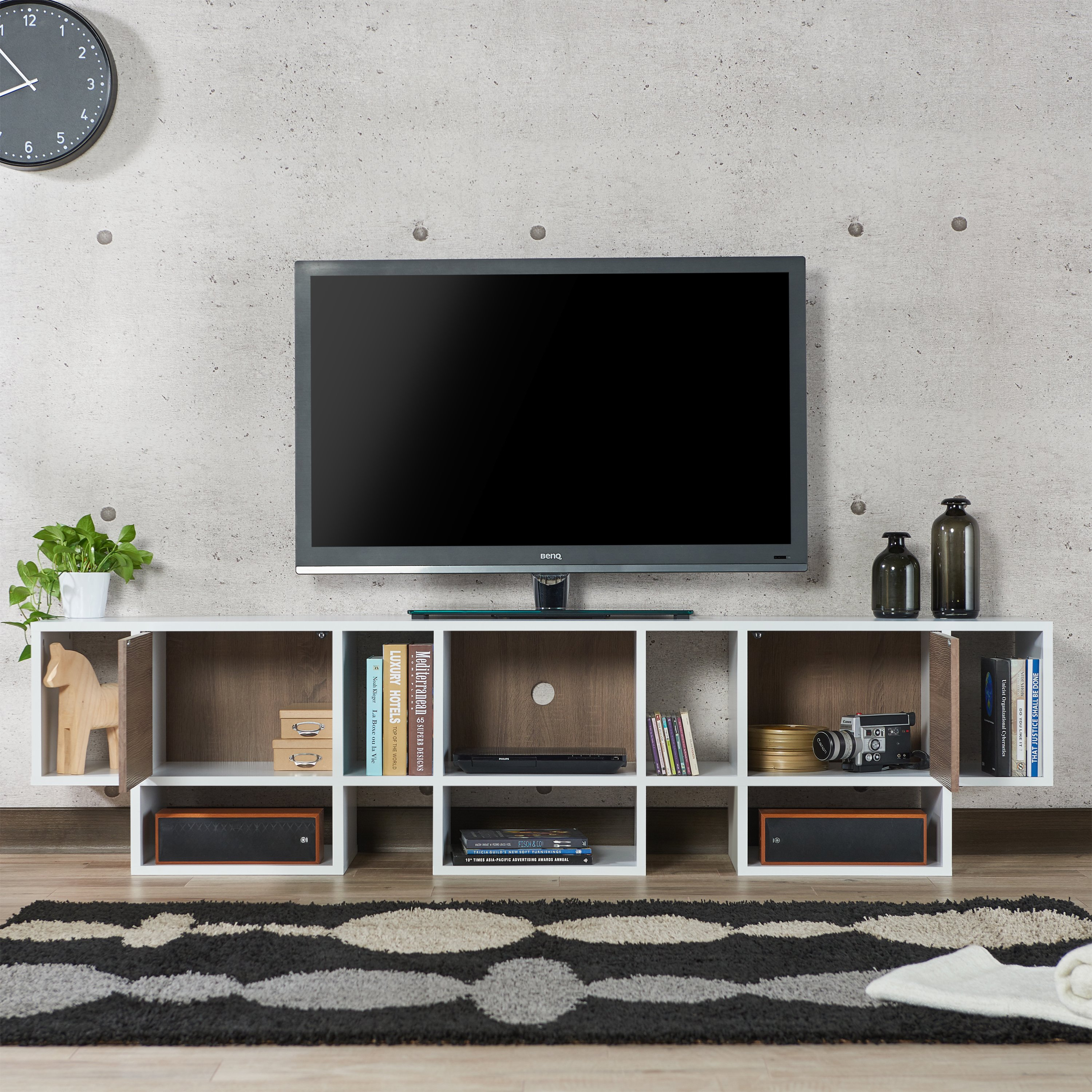 Shop Furniture Of America Veruca Contemporary Two Tone White Intended For Noah Rustic White 66 Inch Tv Stands (View 13 of 30)