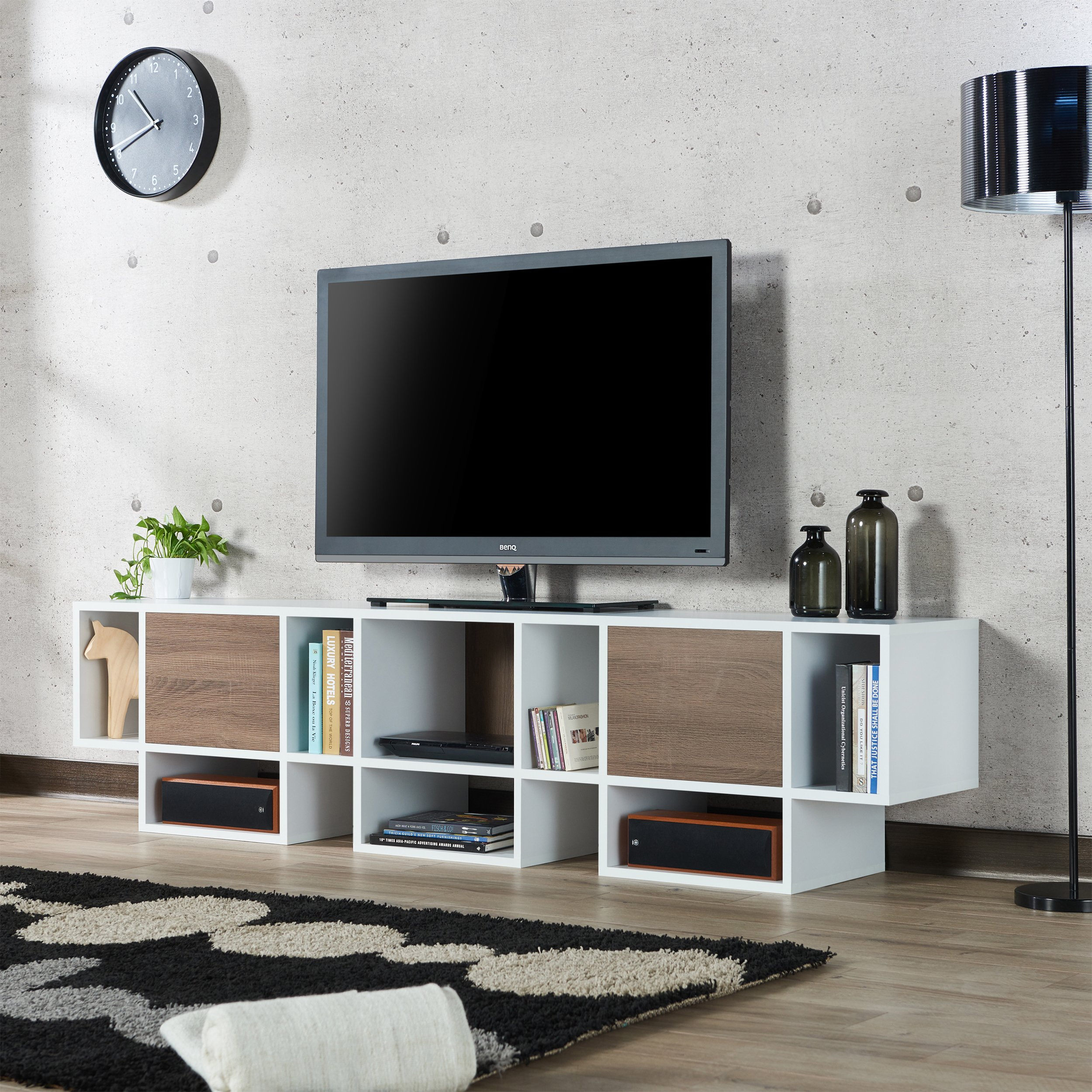 Shop Furniture Of America Veruca Contemporary Two Tone White Throughout Noah Rustic White 66 Inch Tv Stands (View 5 of 30)