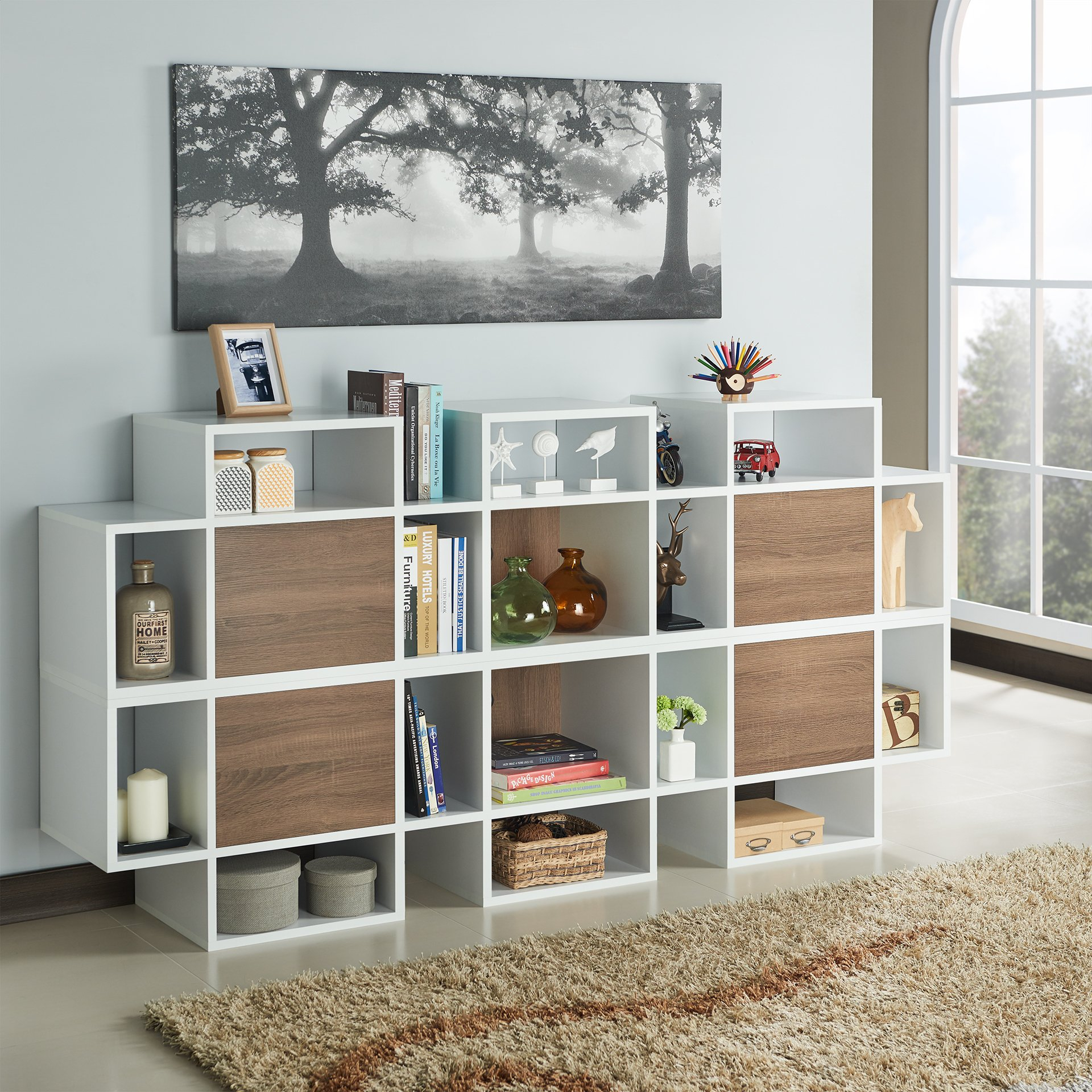 Shop Furniture Of America Veruca Contemporary Two Tone White With Noah Rustic White 66 Inch Tv Stands (View 11 of 30)