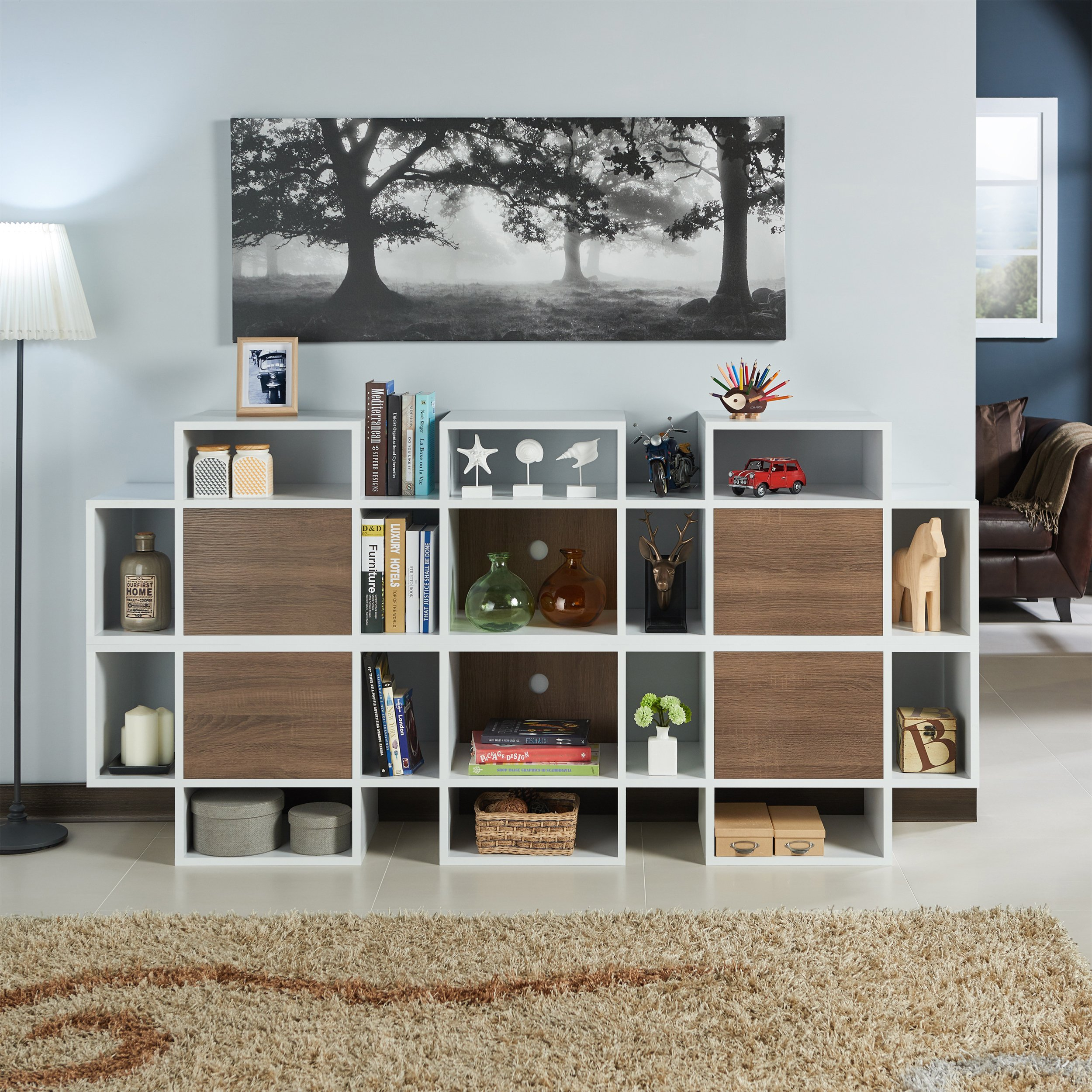 Shop Furniture Of America Veruca Contemporary Two Tone White With Noah Rustic White 66 Inch Tv Stands (View 9 of 30)