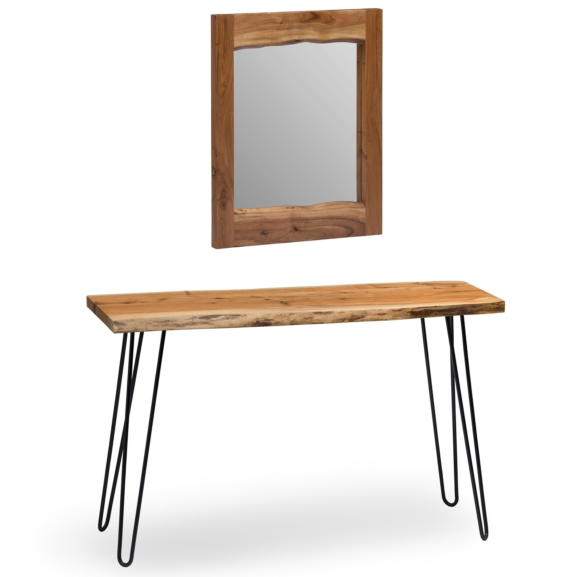"""Shop Hairpin Natural Live Edge Media Console & 24"""" Mirror Set - Free throughout Natural Wood Mirrored Media Console Tables (Image 25 of 30)"""