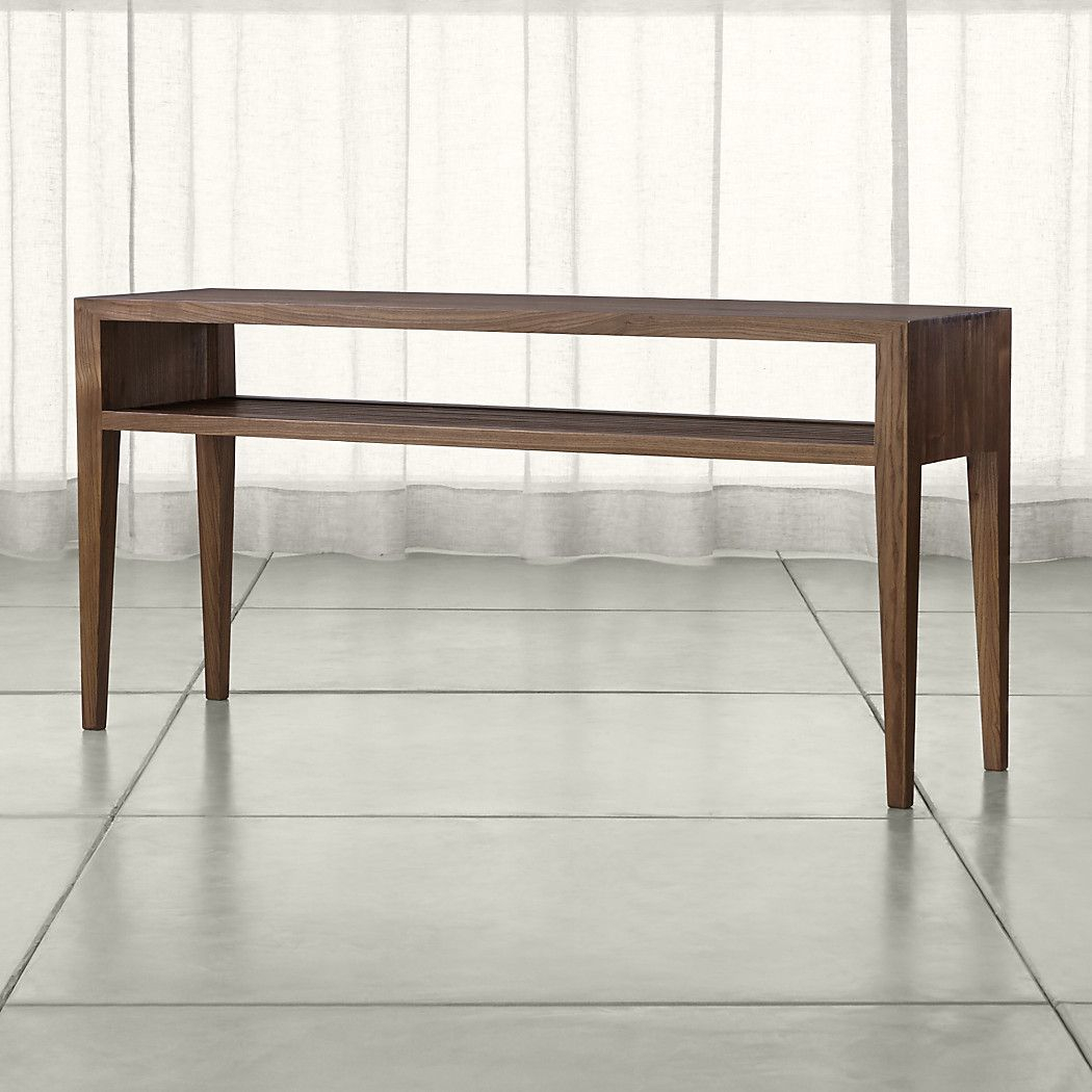 Shop Marin Shiitake Solid Wood Console Table. Open, Airy Console regarding Ventana Display Console Tables (Image 24 of 30)