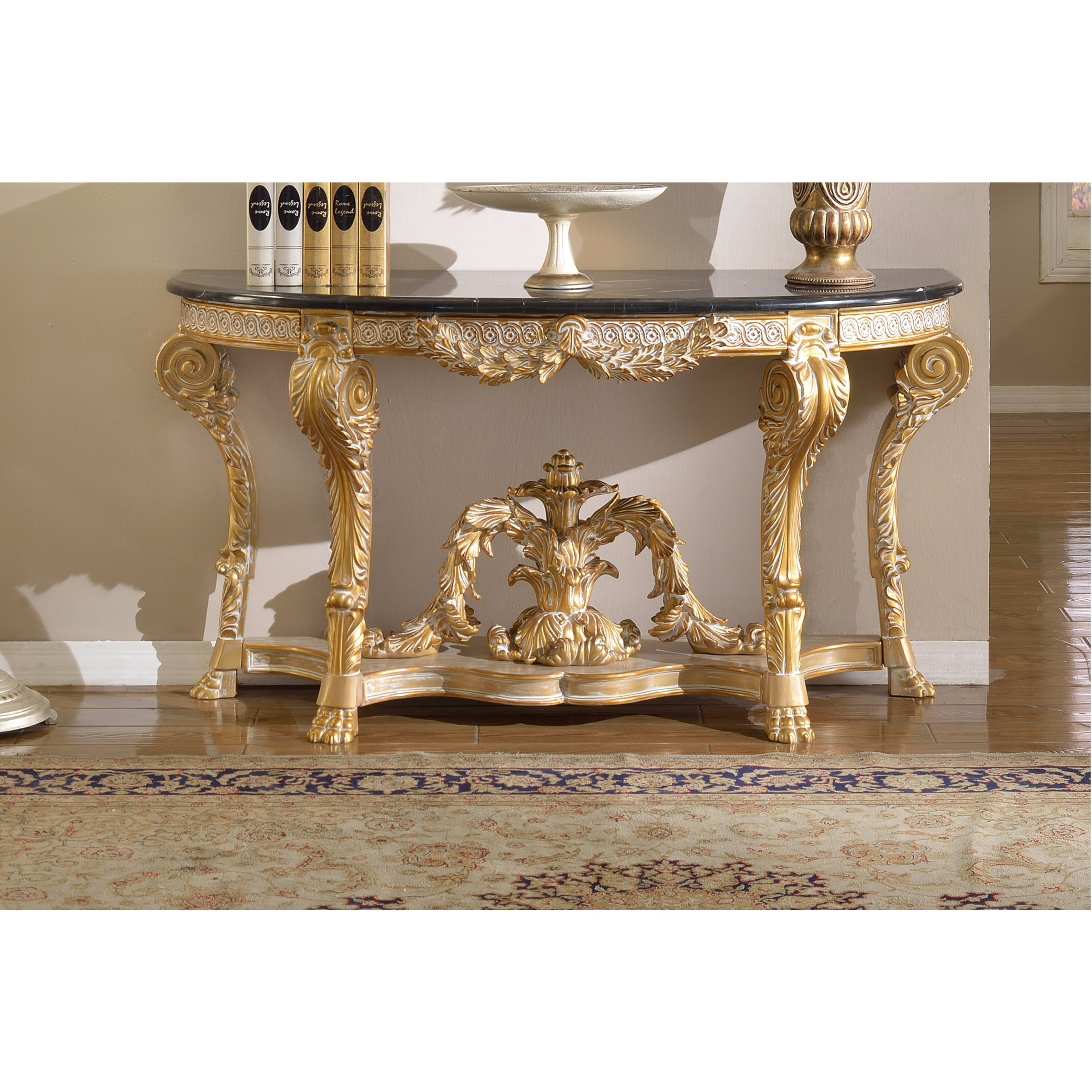 Shop Meridian Furniture Versailles Marble Top Gold Finish Console Within Roman Metal Top Console Tables (View 8 of 30)