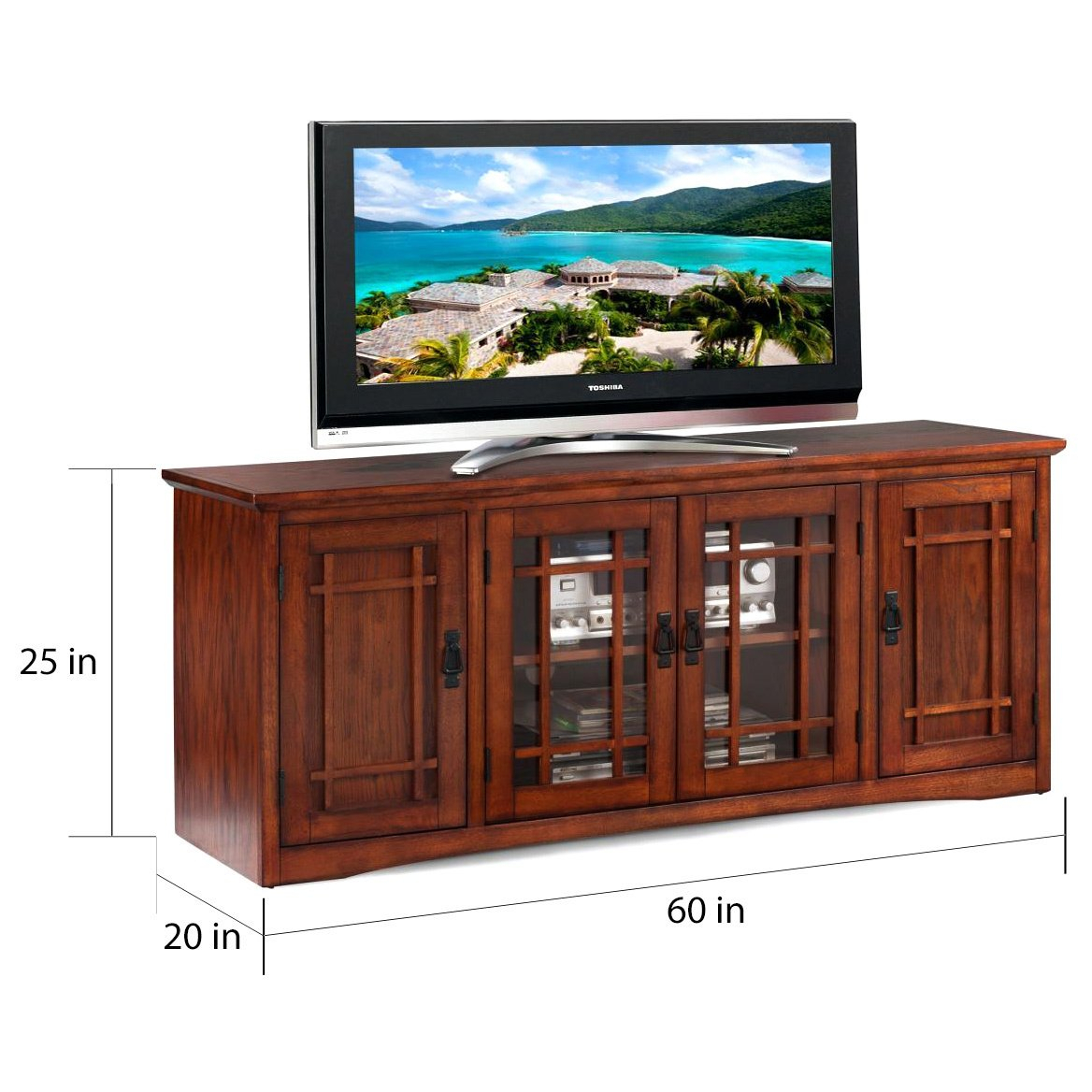 Shop Mission Oak Hardwood 60 Inch Tv Stand – Free Shipping Today Inside Laurent 70 Inch Tv Stands (View 10 of 30)