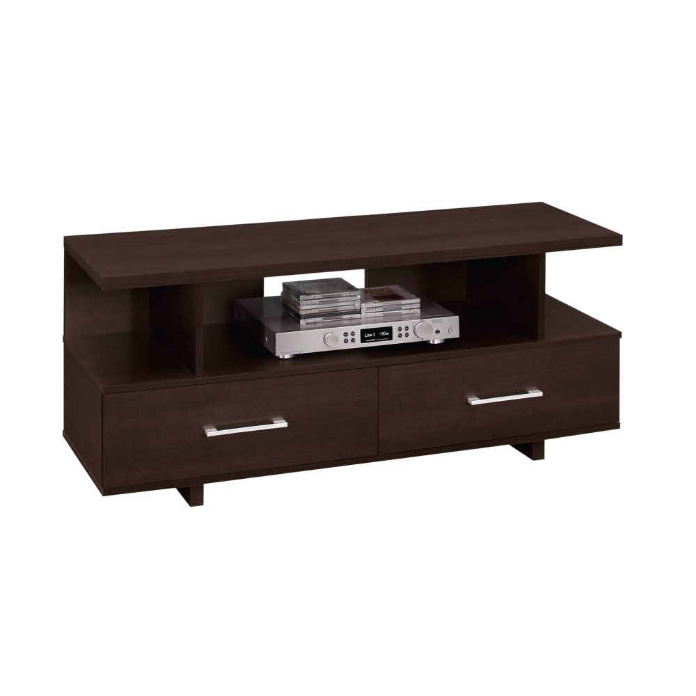 Shop Monarch Specialties I 2606 47 Inch X 15 Inch Wood Tv Stand In Maddy 60 Inch Tv Stands (View 8 of 30)