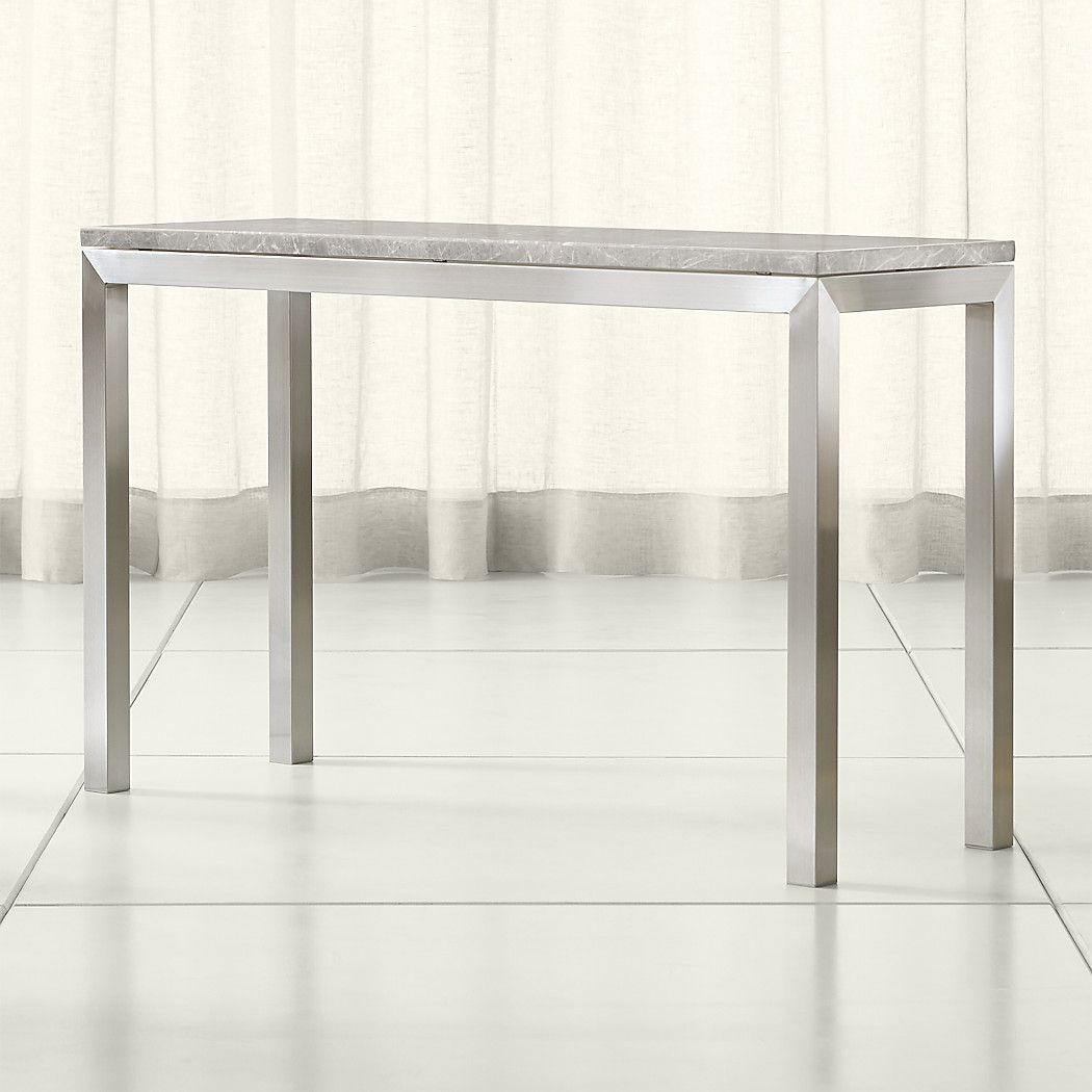 Featured Photo of Parsons Grey Solid Surface Top & Stainless Steel Base 48X16 Console Tables