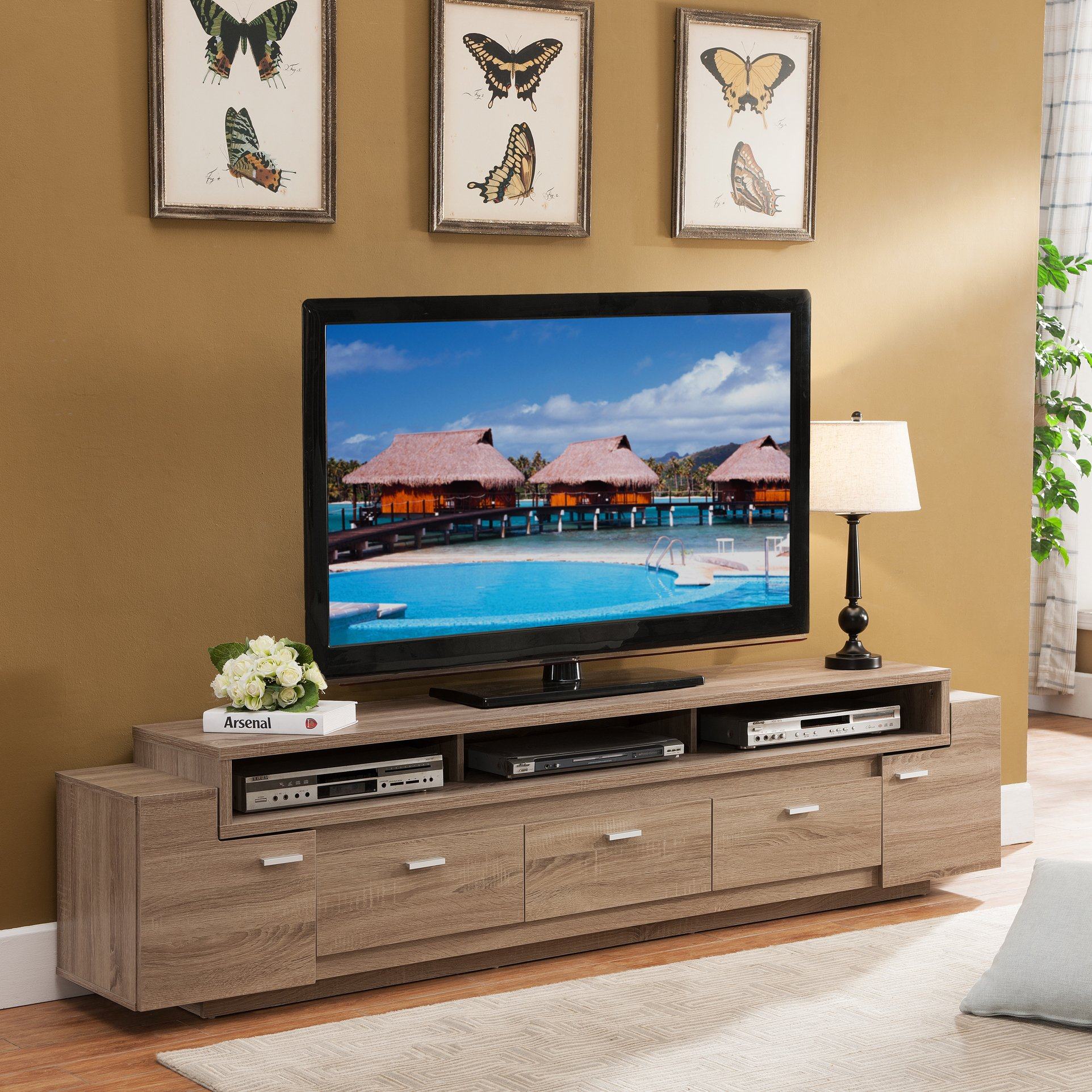 Shop Porch & Den Hubbard 84 Inch Tiered Tv Stand – On Sale – Free With Regard To Ducar 84 Inch Tv Stands (View 13 of 30)
