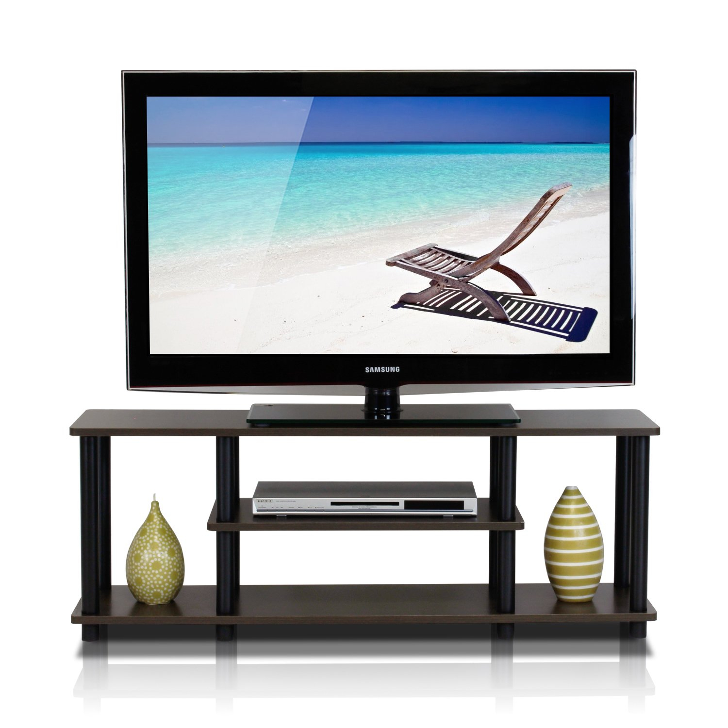 Shop Porch & Den Stuyvesant Open Shelves 3-Tier Entertainment Tv pertaining to Casey Grey 66 Inch Tv Stands (Image 23 of 30)