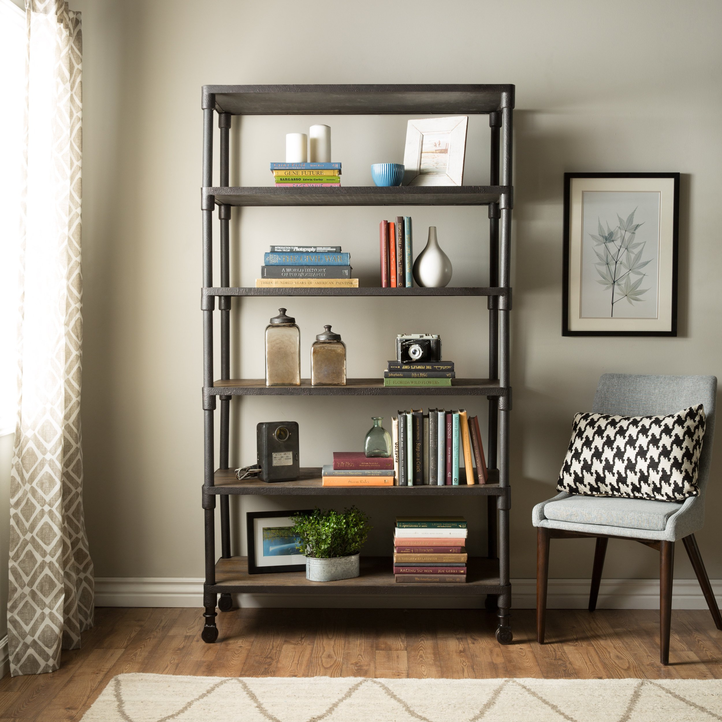 Shop Renate Graphite Grey Industrial Wood And Metal Shelving Throughout Edwin Grey 64 Inch Tv Stands (View 21 of 30)
