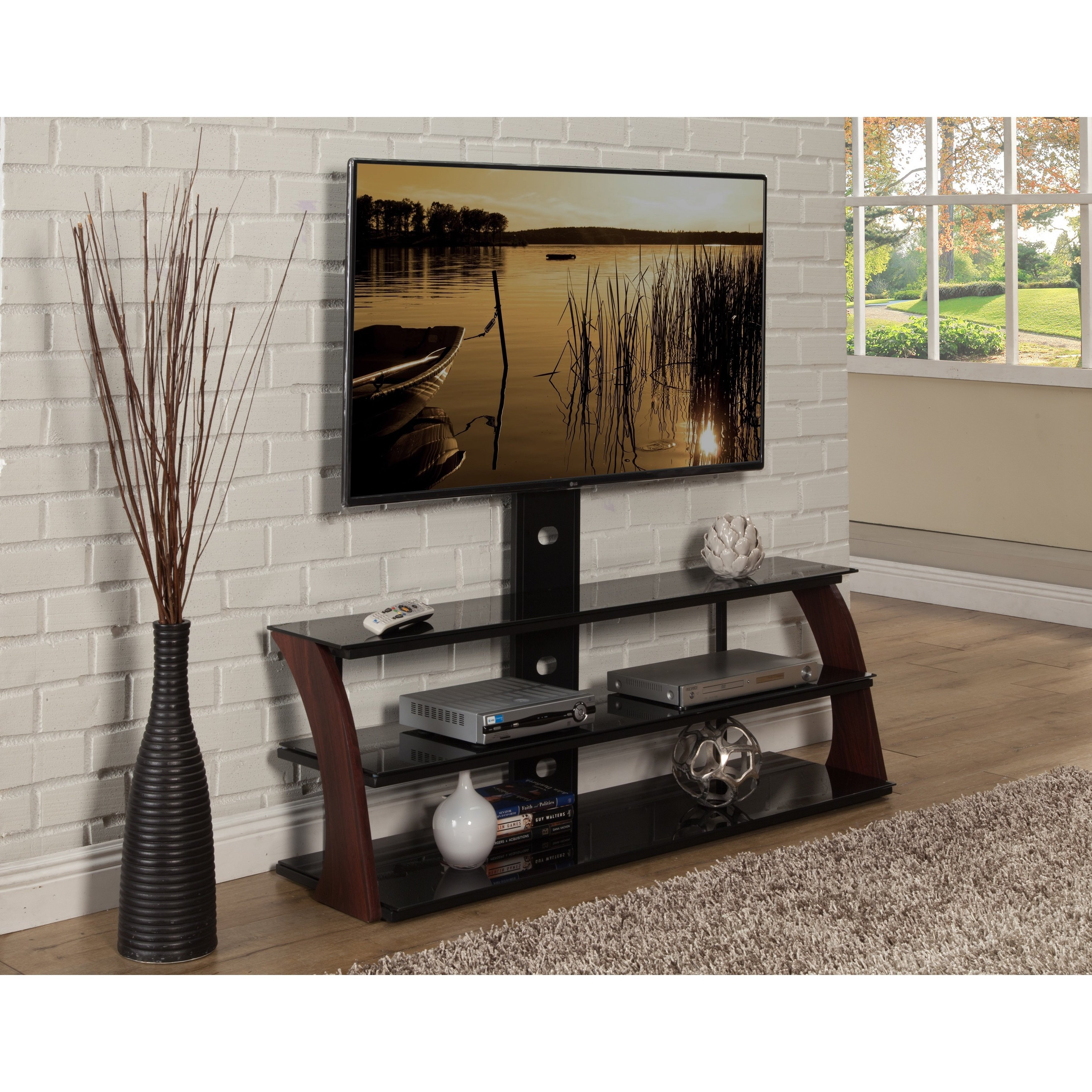 Shop Sandberg Furniture Abigail Black Tv Stand - Free Shipping Today with Walters Media Console Tables (Image 19 of 30)