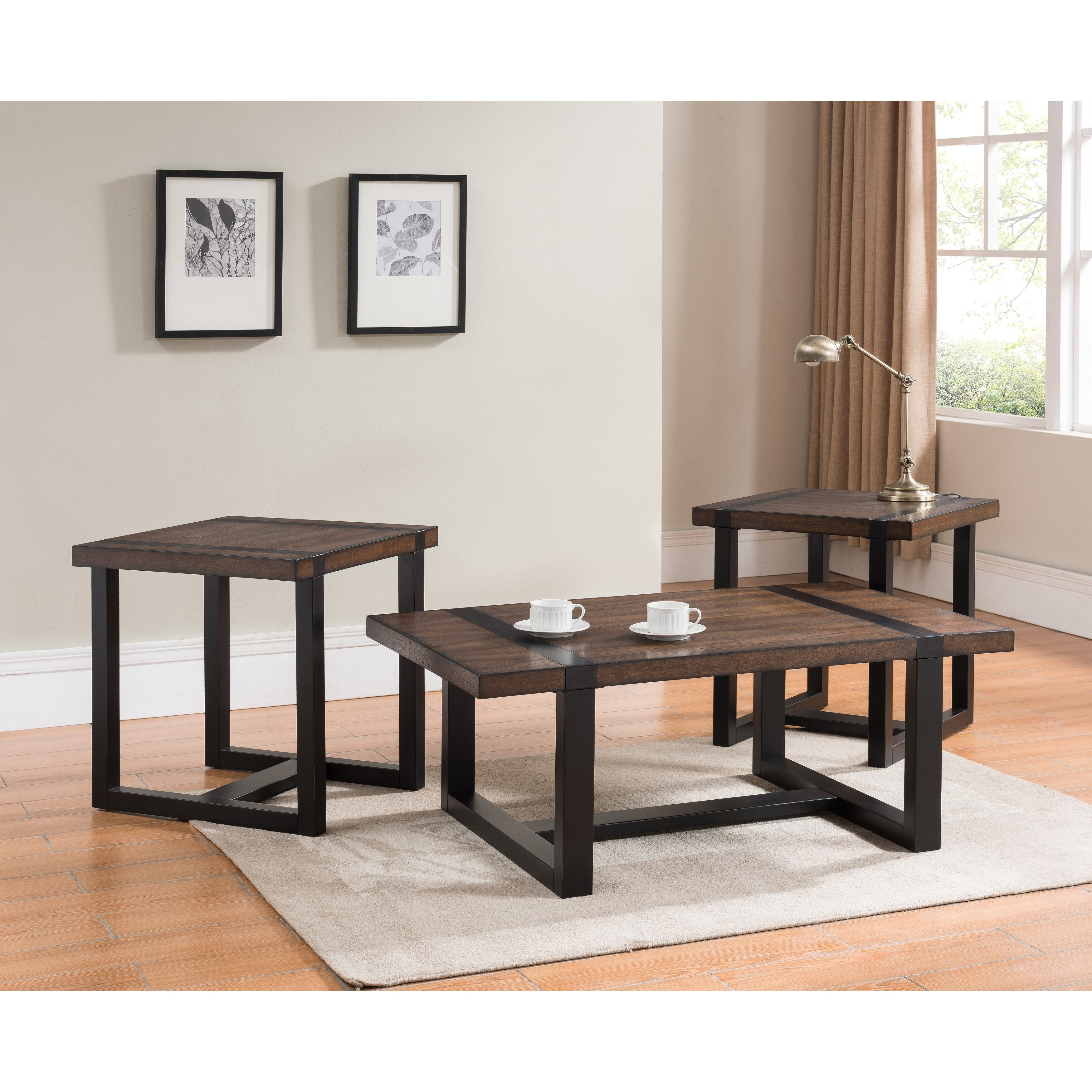 Shop Simmons Casegoods Warm Oak And Charcoal End Table – Free In Dixon Black 65 Inch Highboy Tv Stands (View 10 of 30)