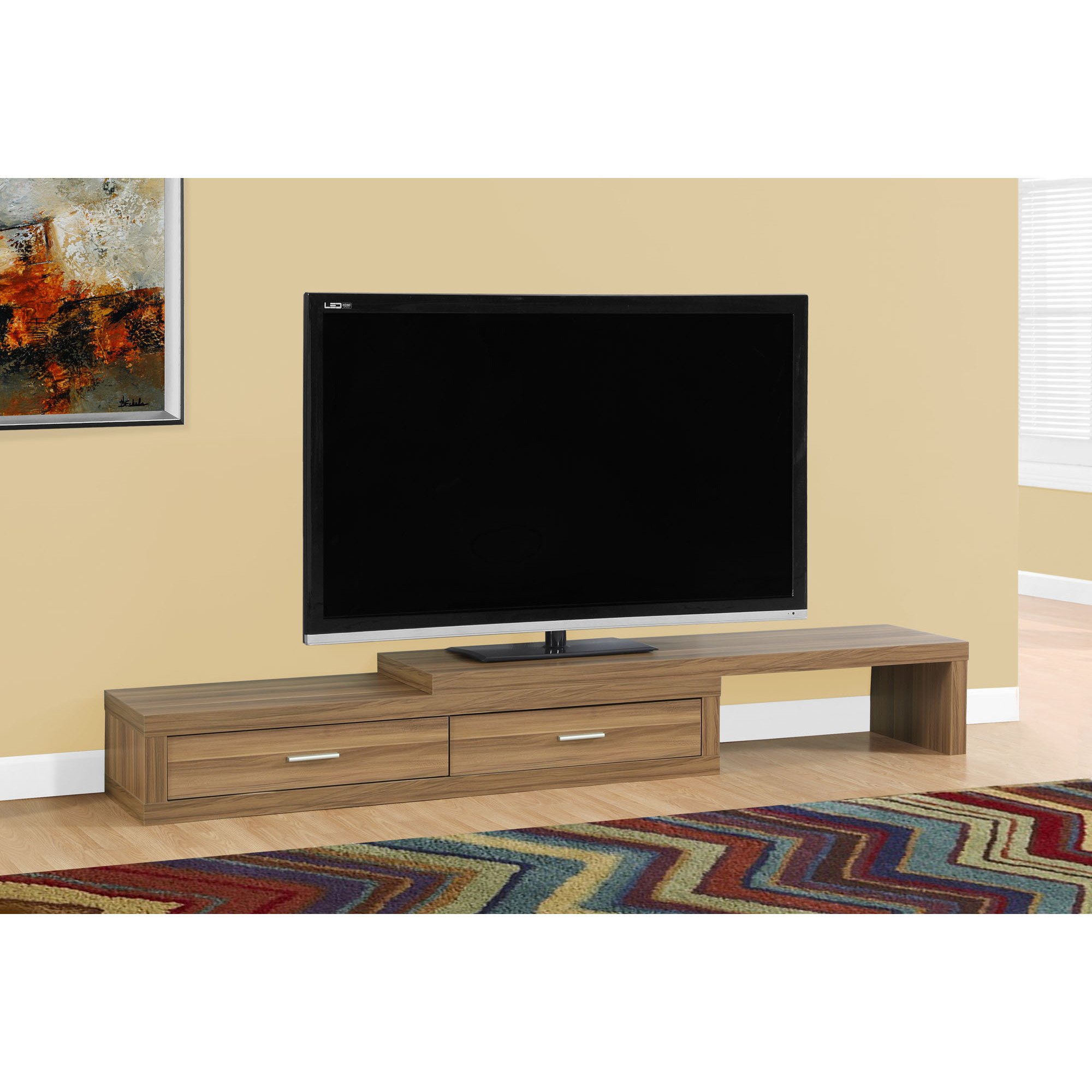 Shop Tv Stand-60-98 Inches Expandable/walnut - Ships To Canada with Canyon 64 Inch Tv Stands (Image 26 of 30)