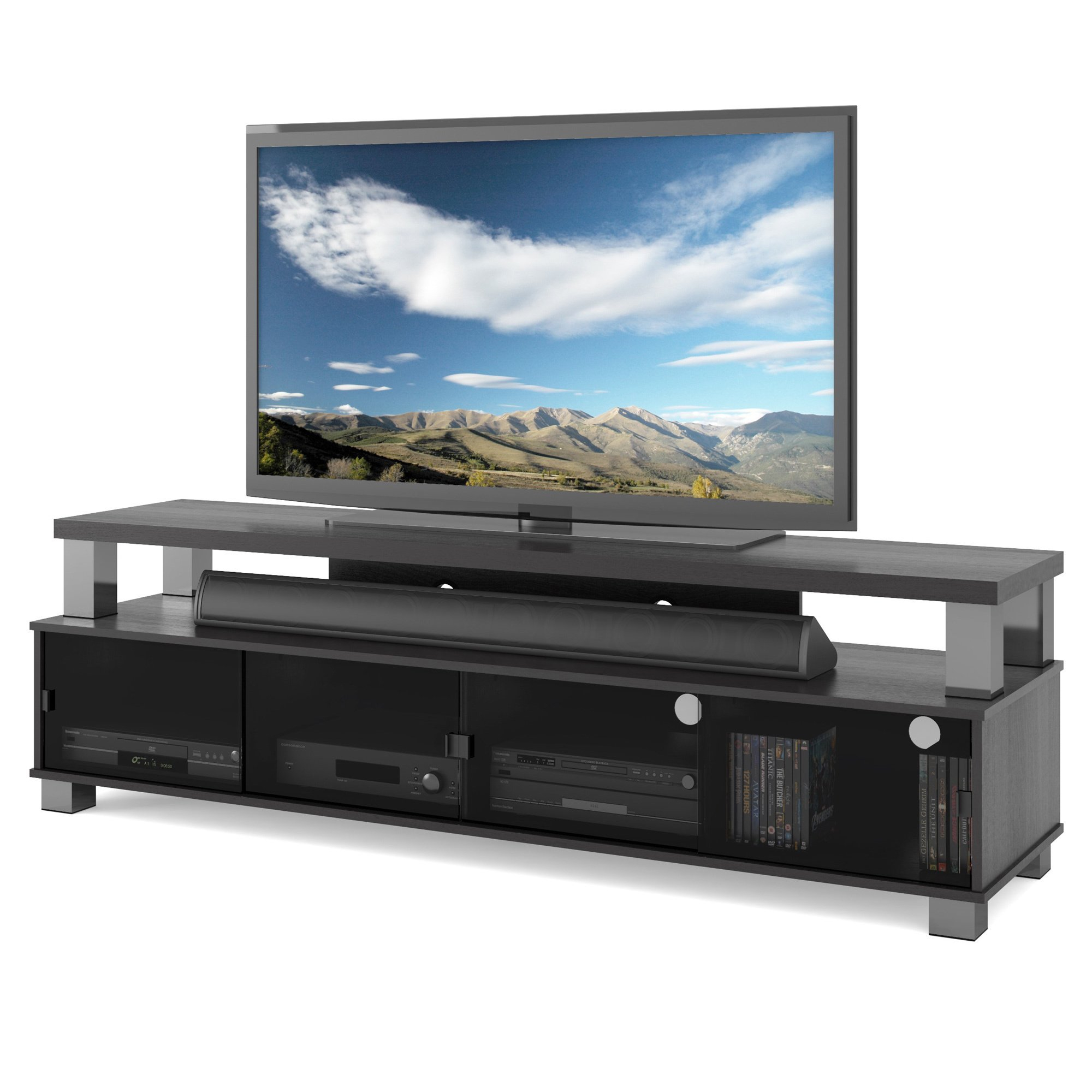 "Shop Two Tier Tv Bench In Ravenwood Black, For Tvs Up To 80"" - Free for Oxford 84 Inch Tv Stands (Image 29 of 30)"