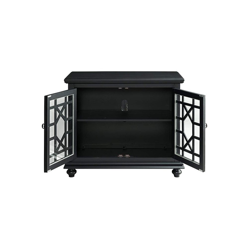 Shop Wooden Tv Stand With Trellis Detailed Doors, Antique Black for Maddy 70 Inch Tv Stands (Image 23 of 30)