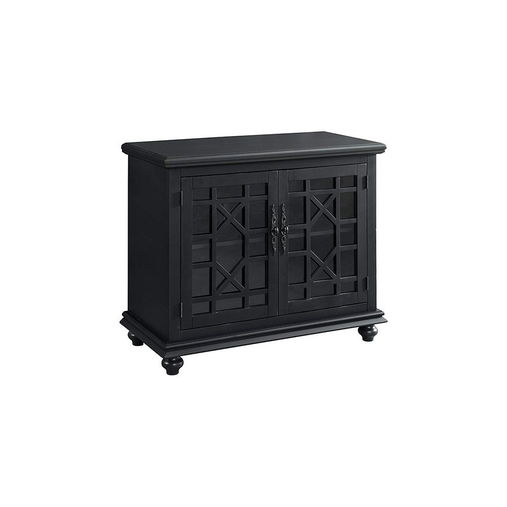 Shop Wooden Tv Stand With Trellis Detailed Doors, Antique Black In Maddy 60 Inch Tv Stands (View 10 of 30)