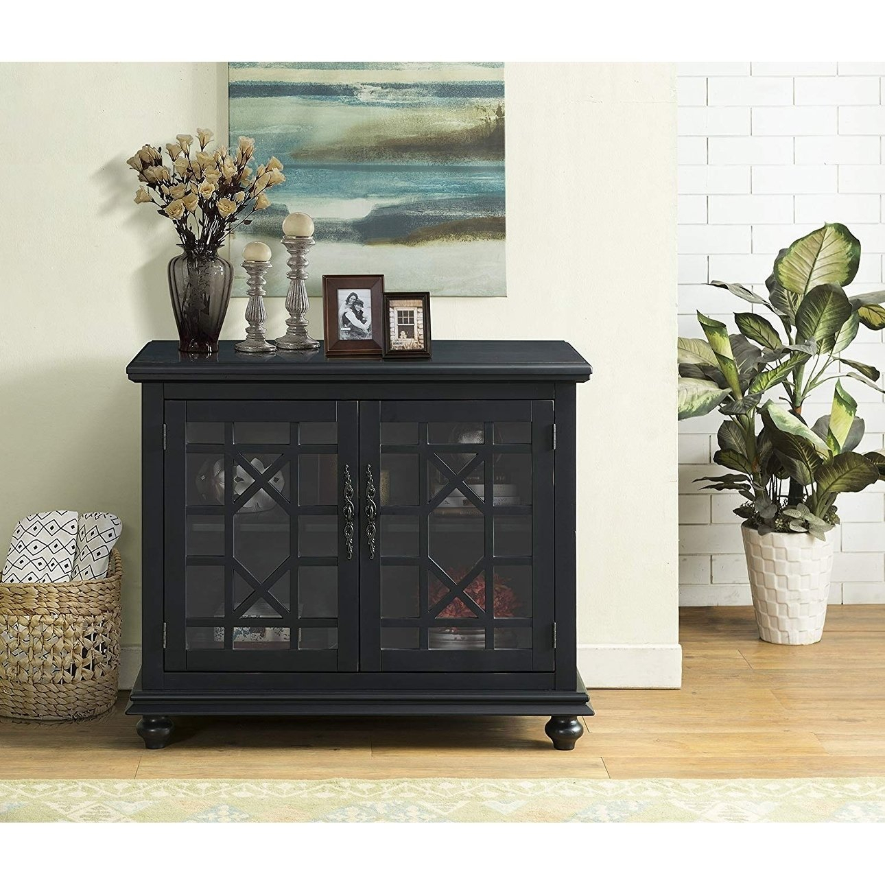 Shop Wooden Tv Stand With Trellis Detailed Doors, Antique Black In Maddy 60 Inch Tv Stands (View 9 of 30)
