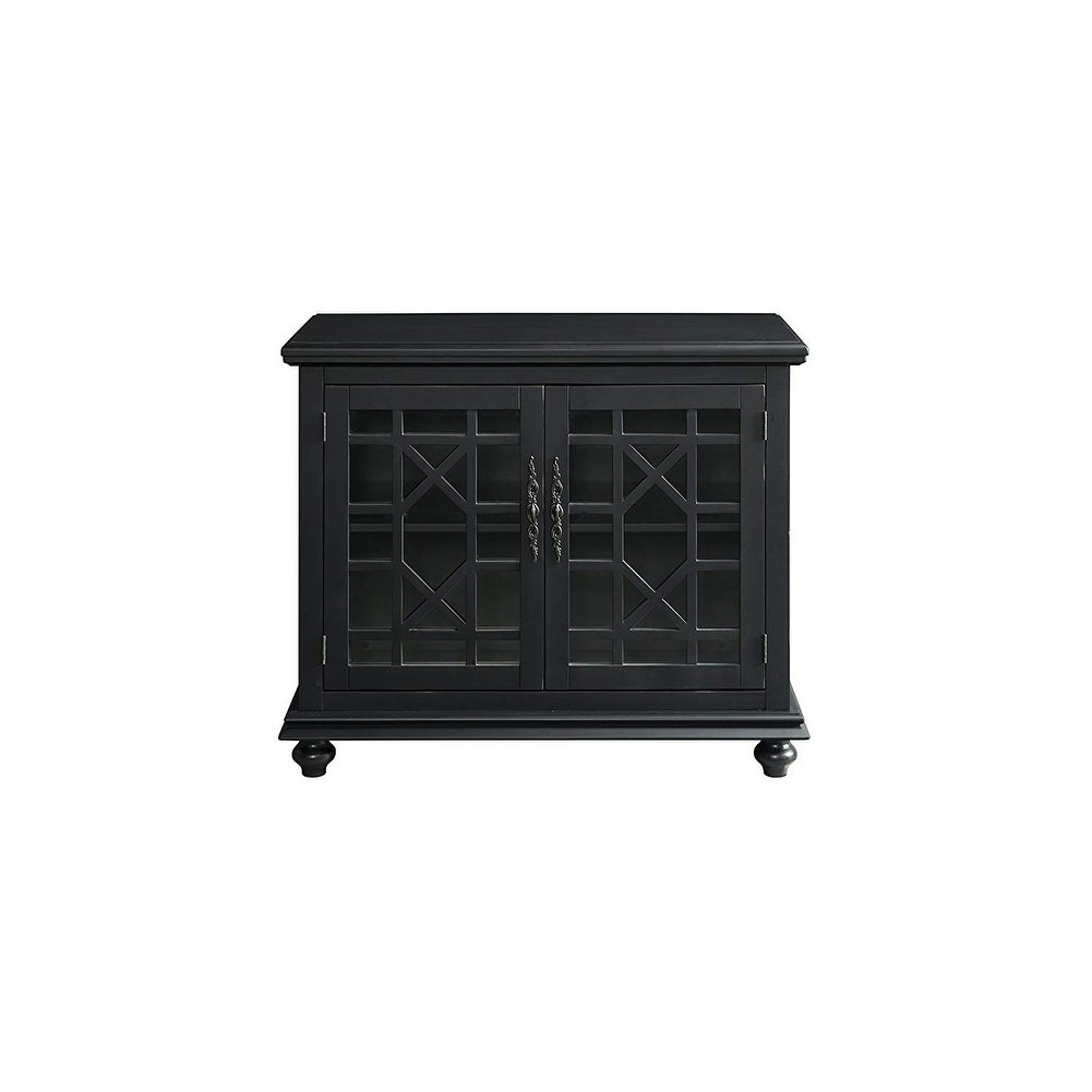 Shop Wooden Tv Stand With Trellis Detailed Doors, Antique Black throughout Maddy 70 Inch Tv Stands (Image 25 of 30)
